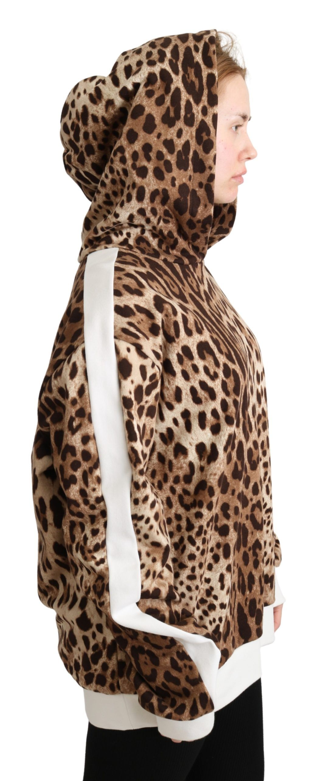 Dolce & Gabbana Brown Leopard Hooded Pullover Cotton Sweater