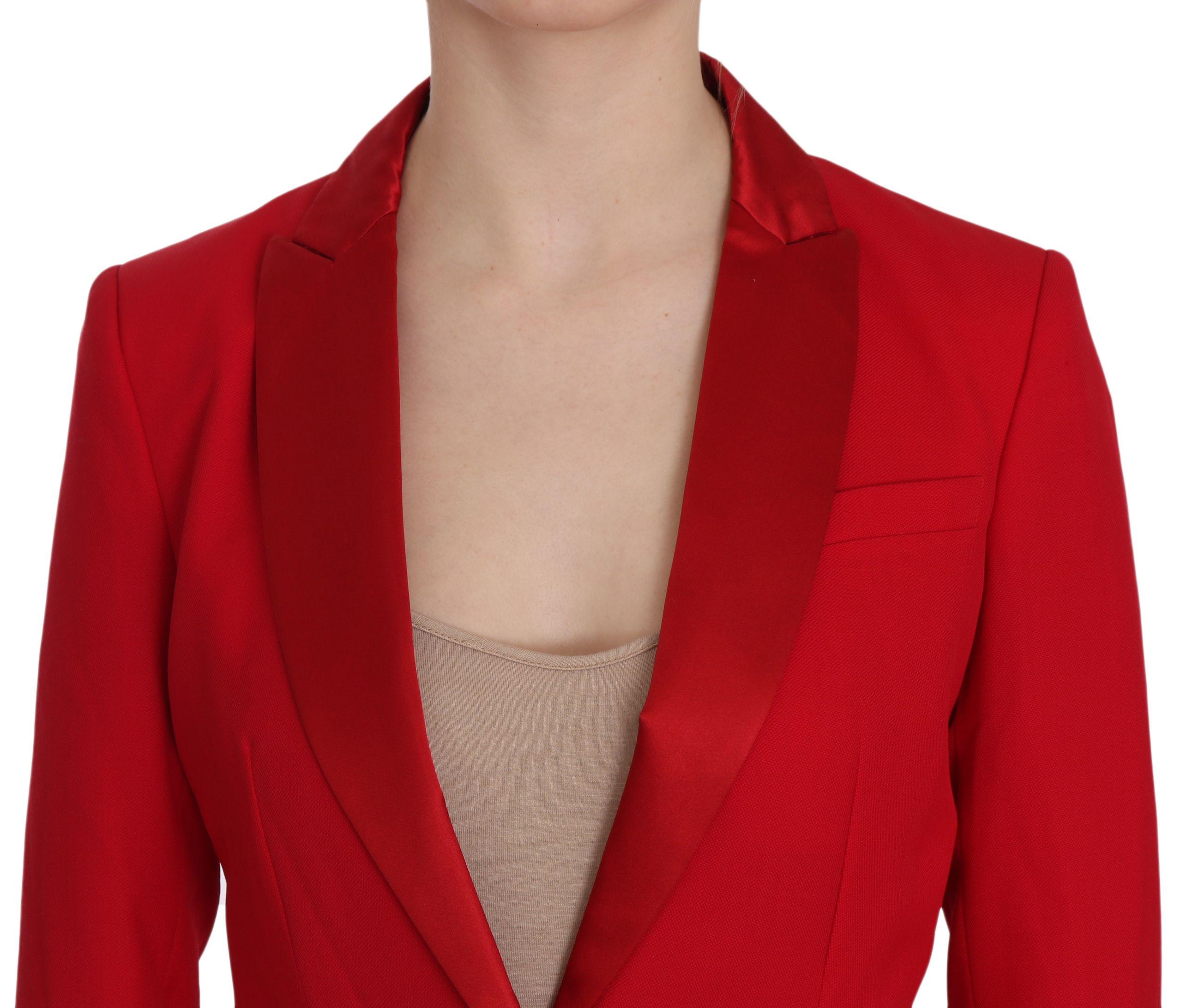 Dondup Red Single Breasted Long Sleeve Formal Jacket Blazer