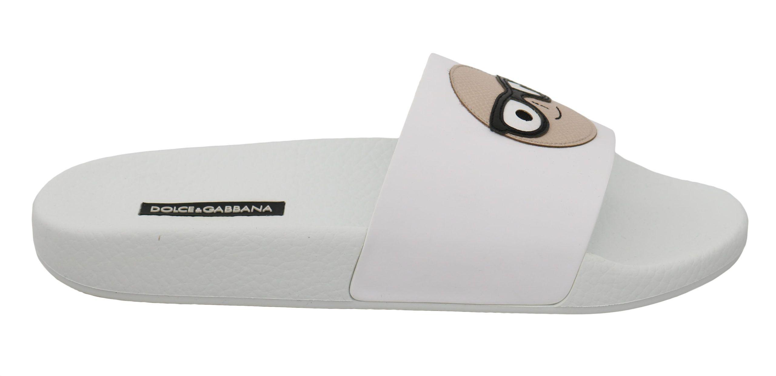 Dolce & Gabbana White Leather #dgfamily Slides Shoes Sandals