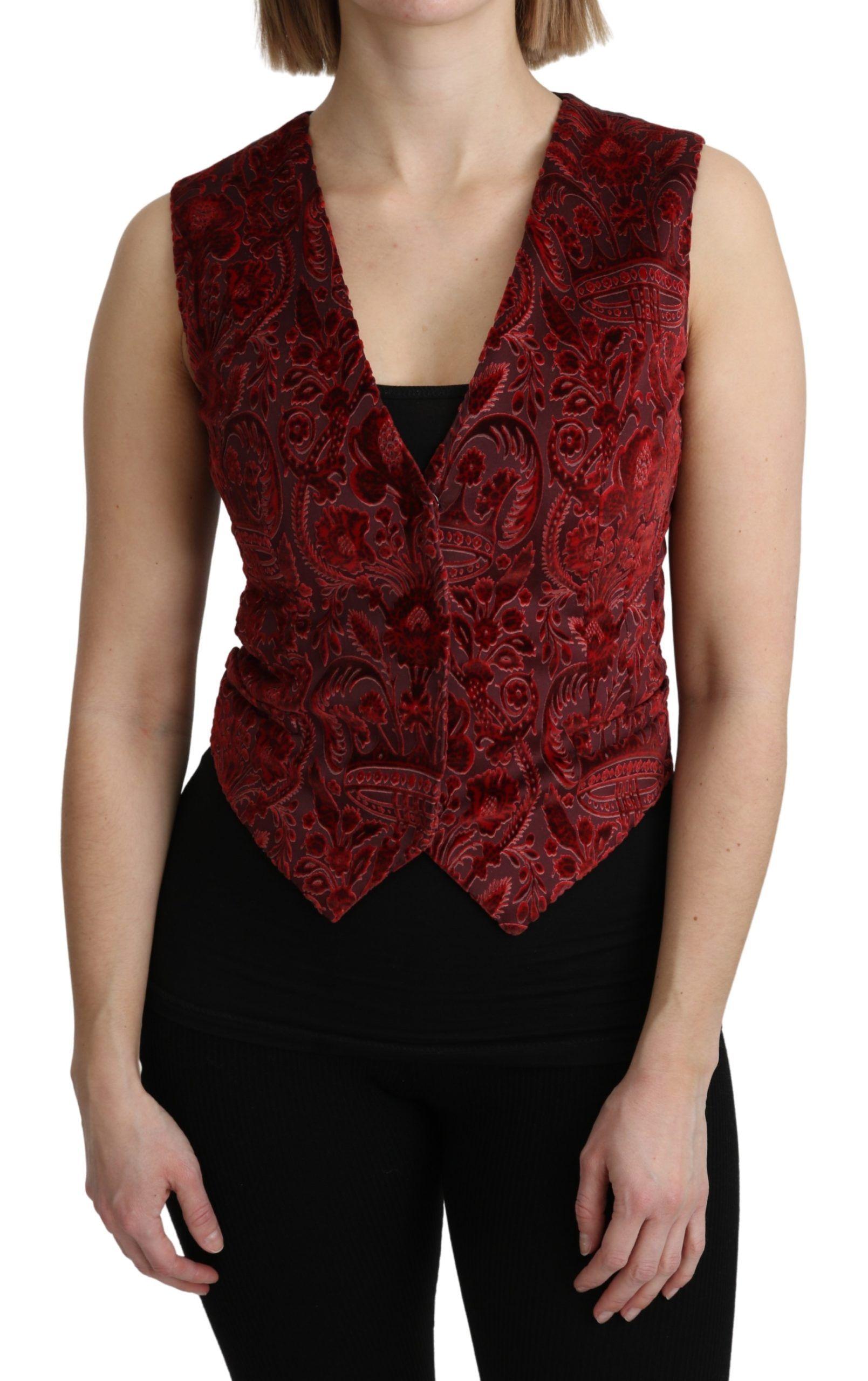Dolce & Gabbana Bordeaux Brocade Waistcoat Vest Cotton Top
