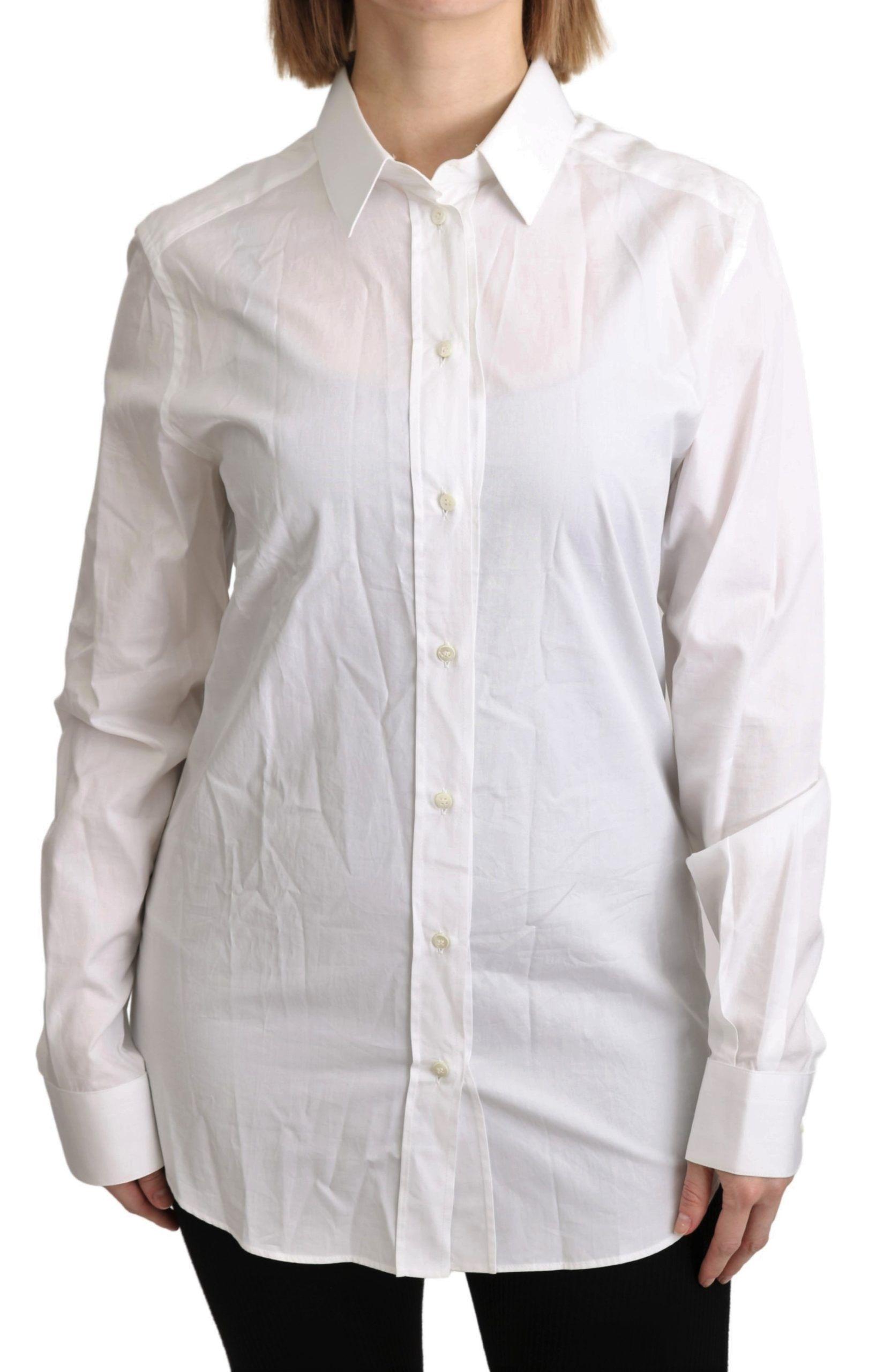 Dolce & Gabbana White Collared Formal Dress Shirt Cotton Top