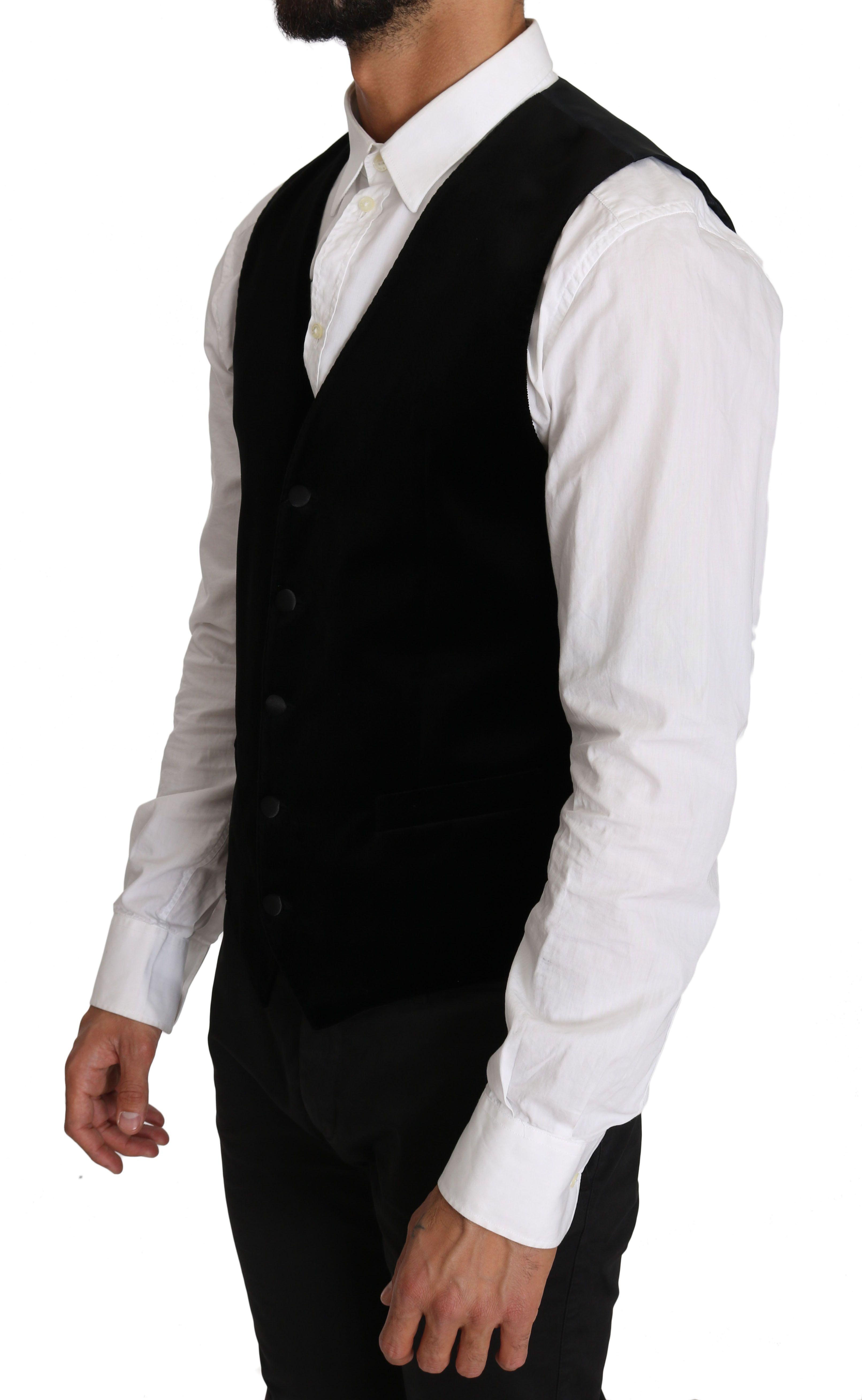 Dolce & Gabbana Black Solid Velvet Cotton Waistcoat Vest