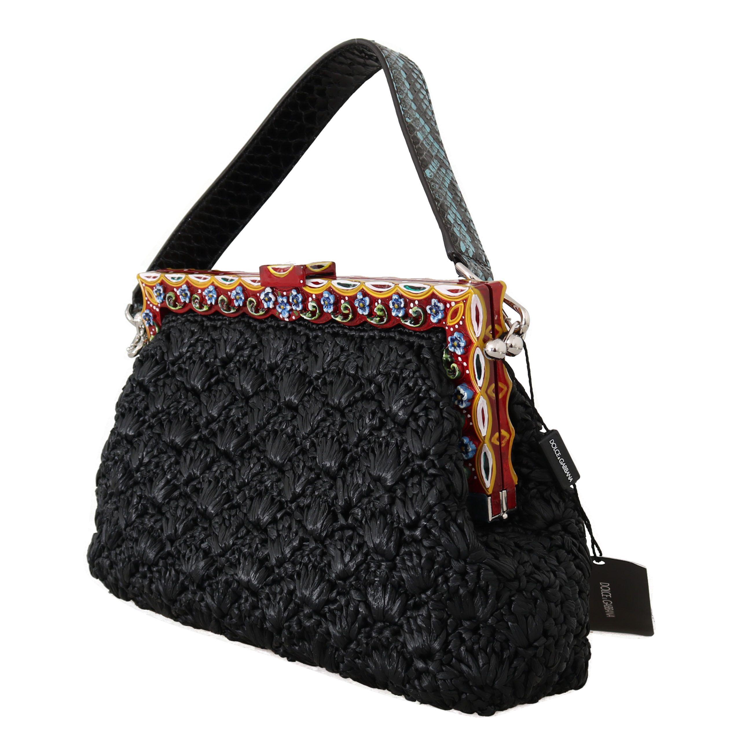Dolce & Gabbana Black Raffia Leather Borse VANDA Carretto Purse
