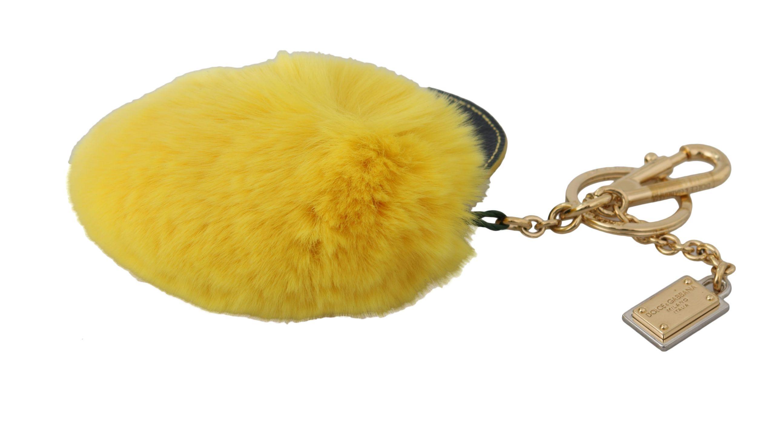 Dolce & Gabbana Yellow Leather Fur Gold Clasp Keyring Women Keychain
