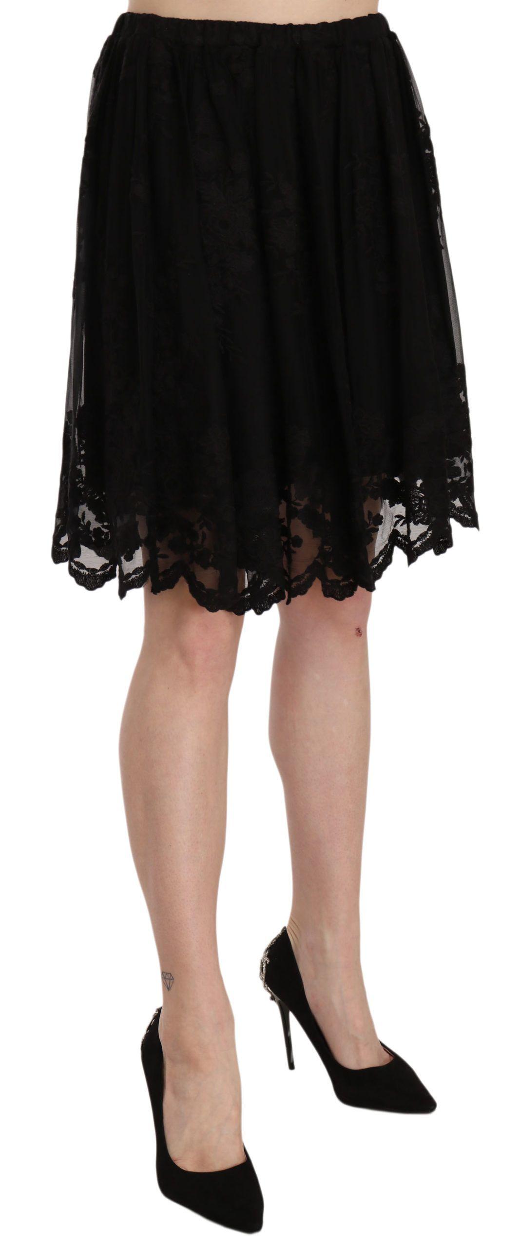 Twinset Black Cotton A-Line Pleated Mini Skirt