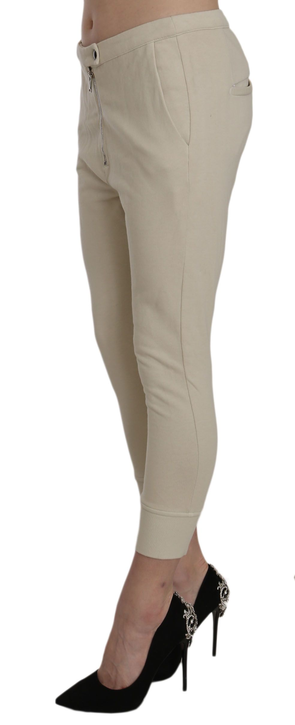 Dondup Beige Mid Waist 100% Cotton Skinny Cropped Pants