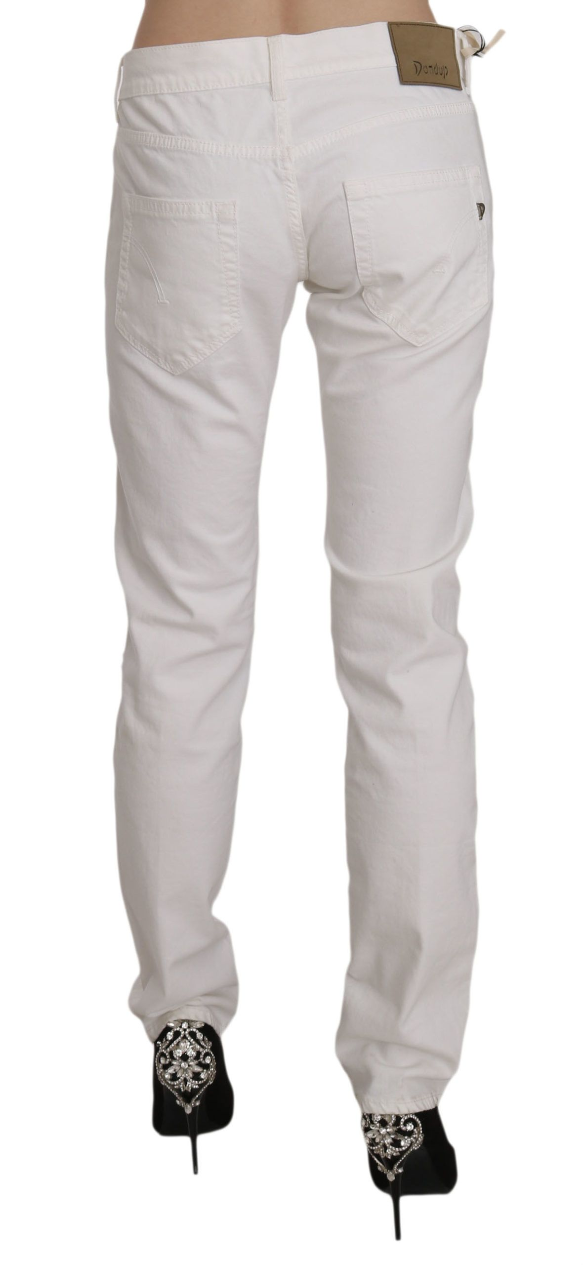 Dondup White Cotton Stretch Skinny Casual Denim Pants Jeans