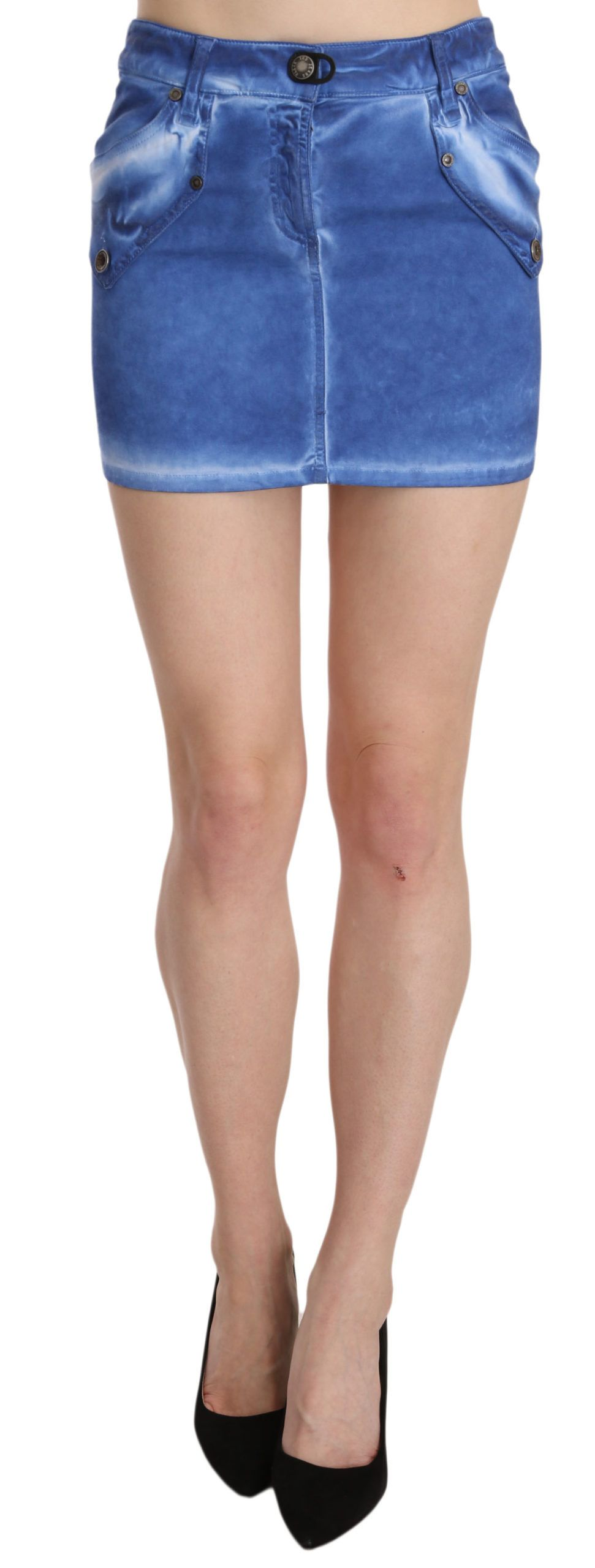 PLEIN SUD Blue Cotton Stretch Casual Mini Skirt
