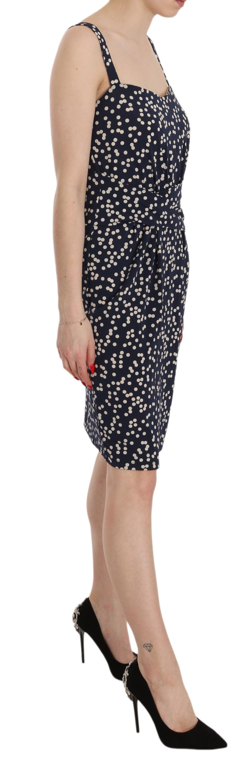 Liu Jo Blue Dotted Spaghetti Strap Sheath Knee Dress