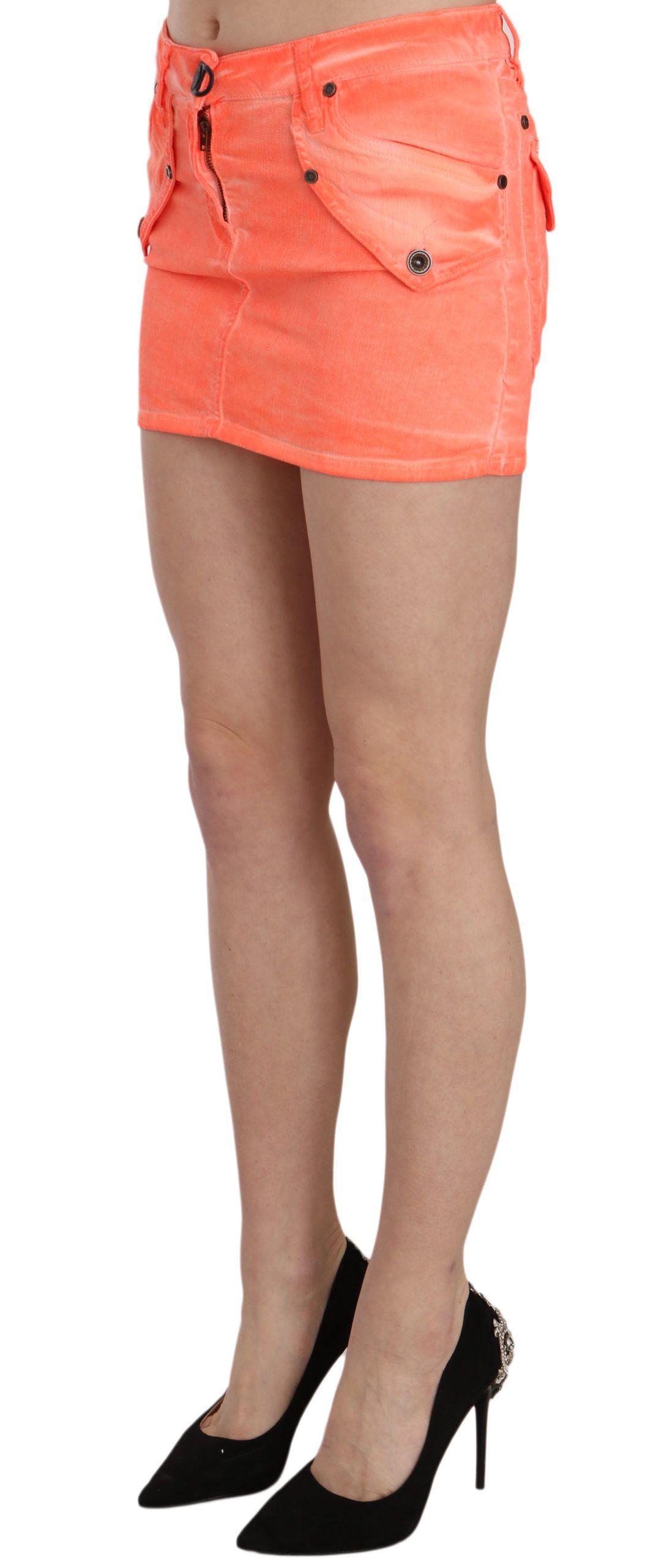 PLEIN SUD Orange Cotton Stretch Casual Mini Skirt