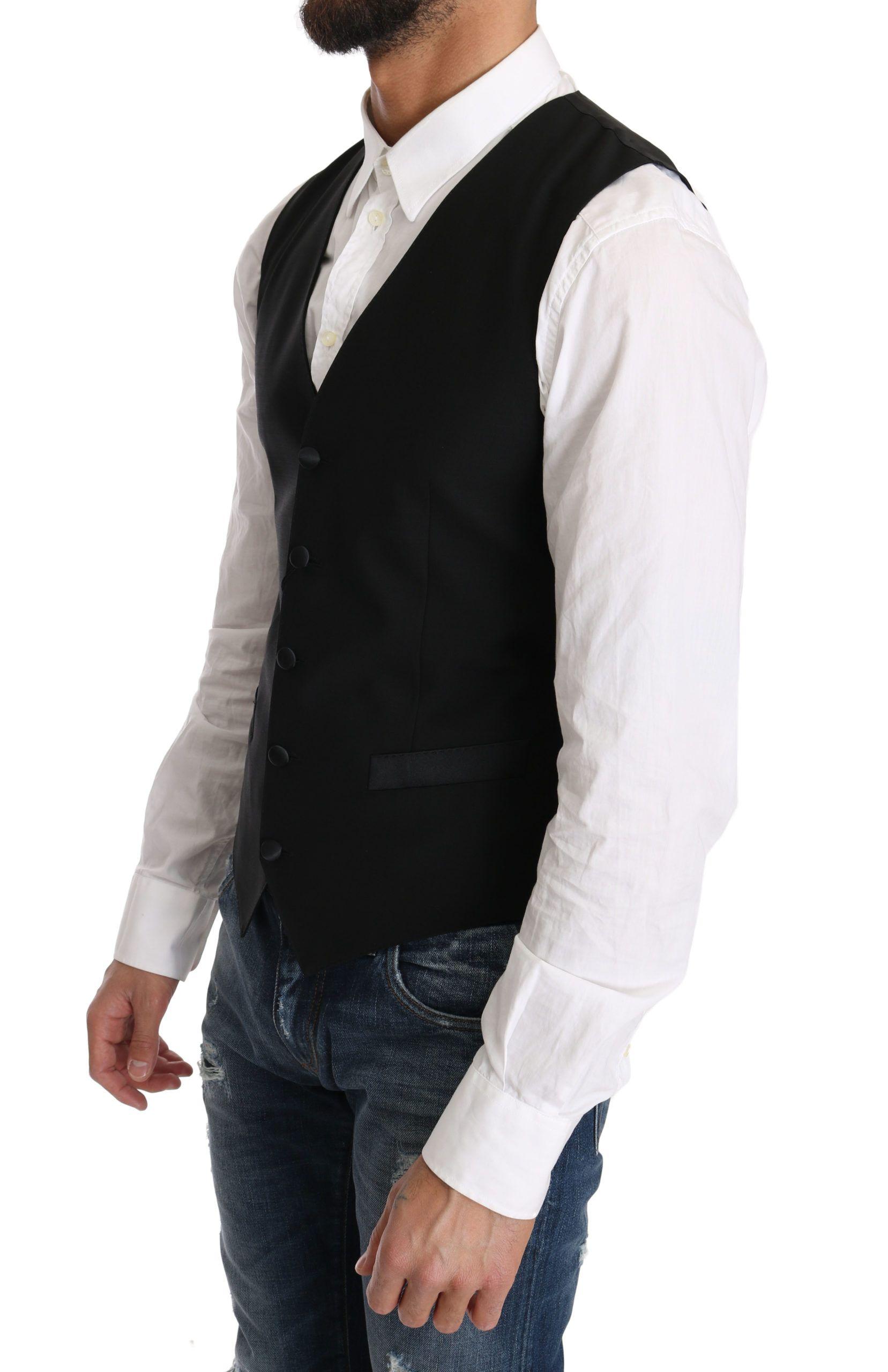 Dolce & Gabbana Black Wool Dress Waistcoat Gillet