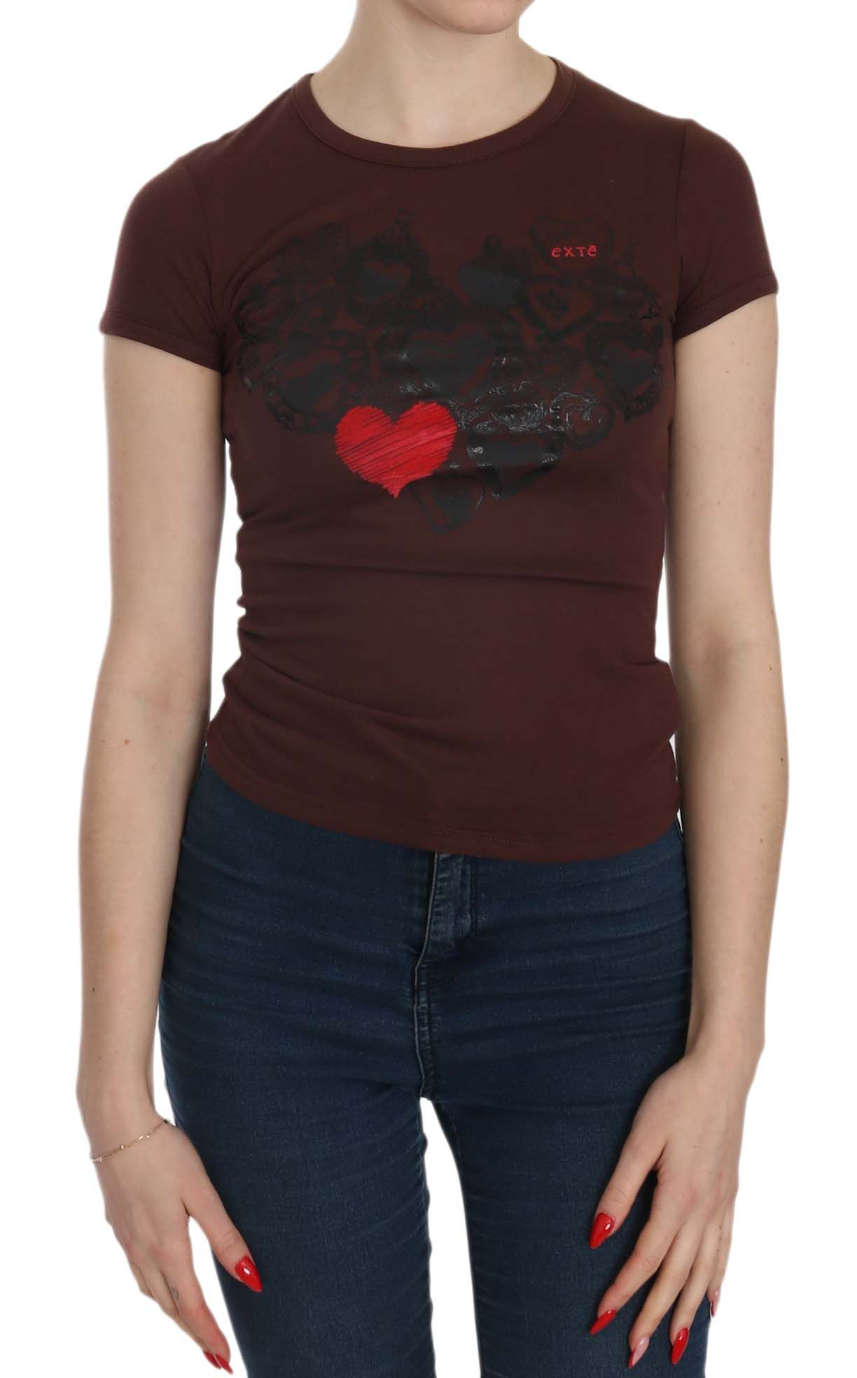 EXTE Brown Hearts Short Sleeve Casual T-shirt Top