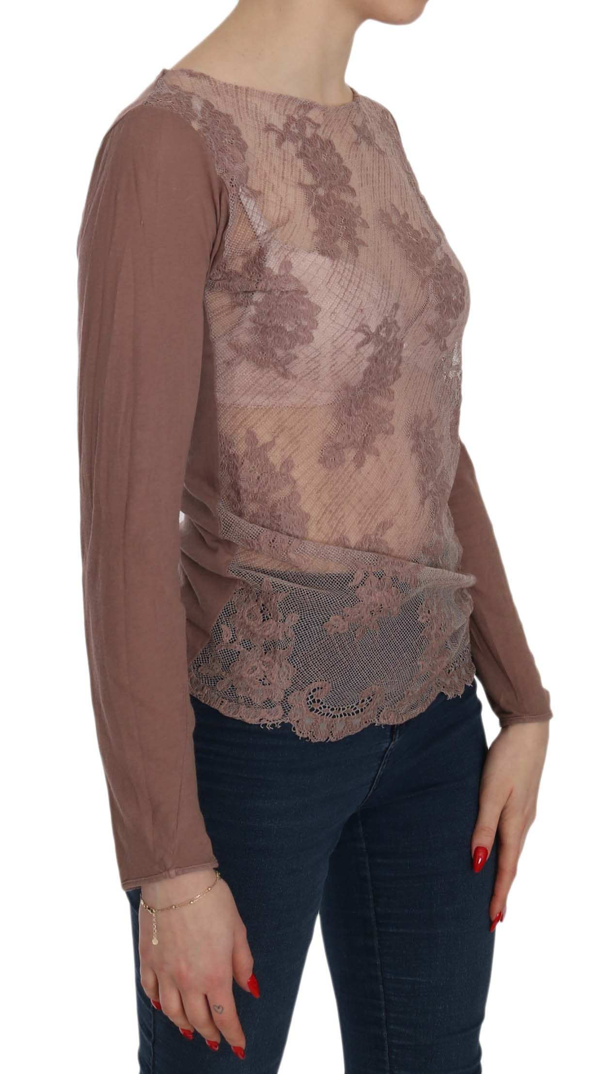 EXTE Brown Lace See Through Long Sleeve Top Blouse