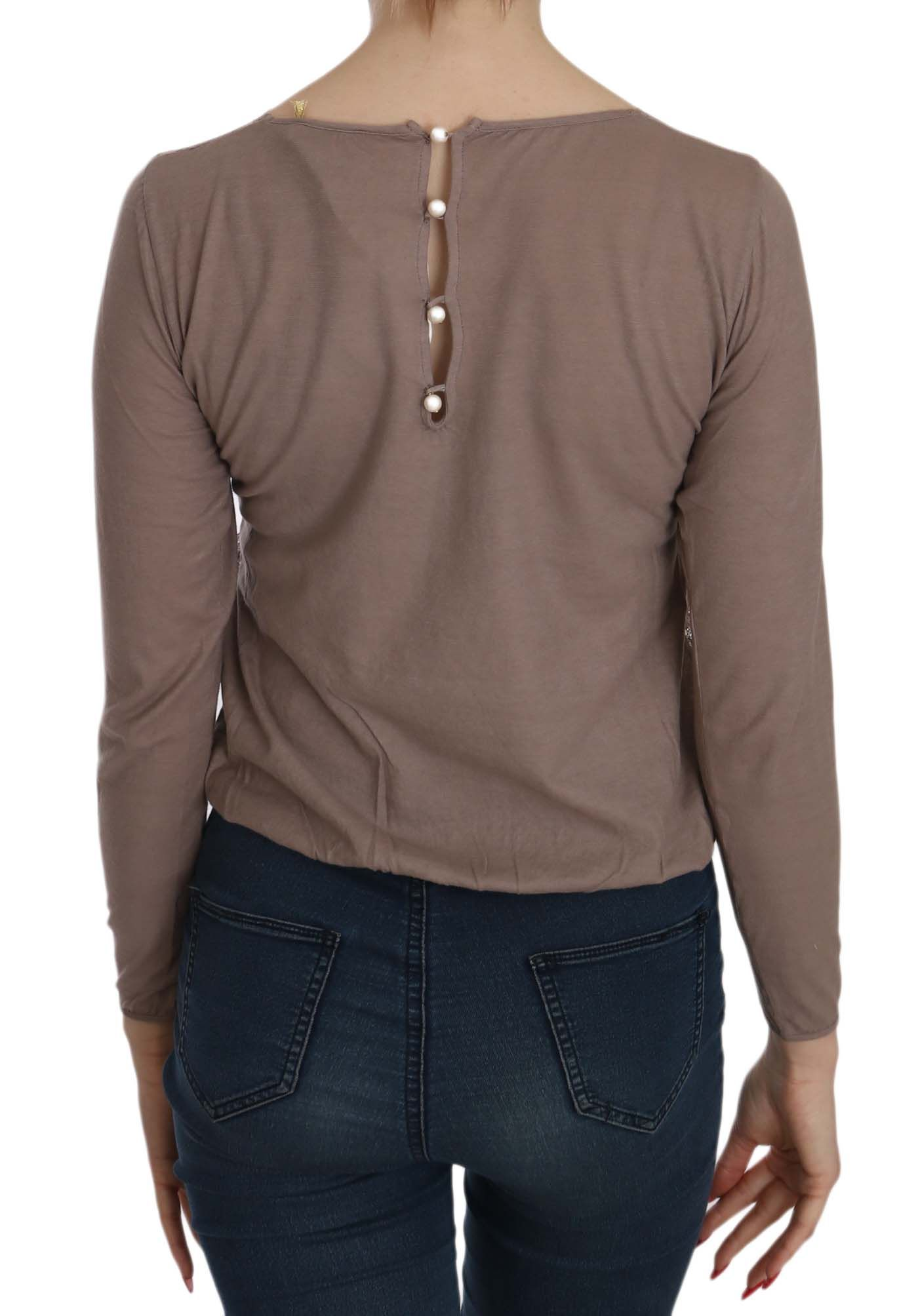 EXTE Brown Lace See Through Long Sleeve Top