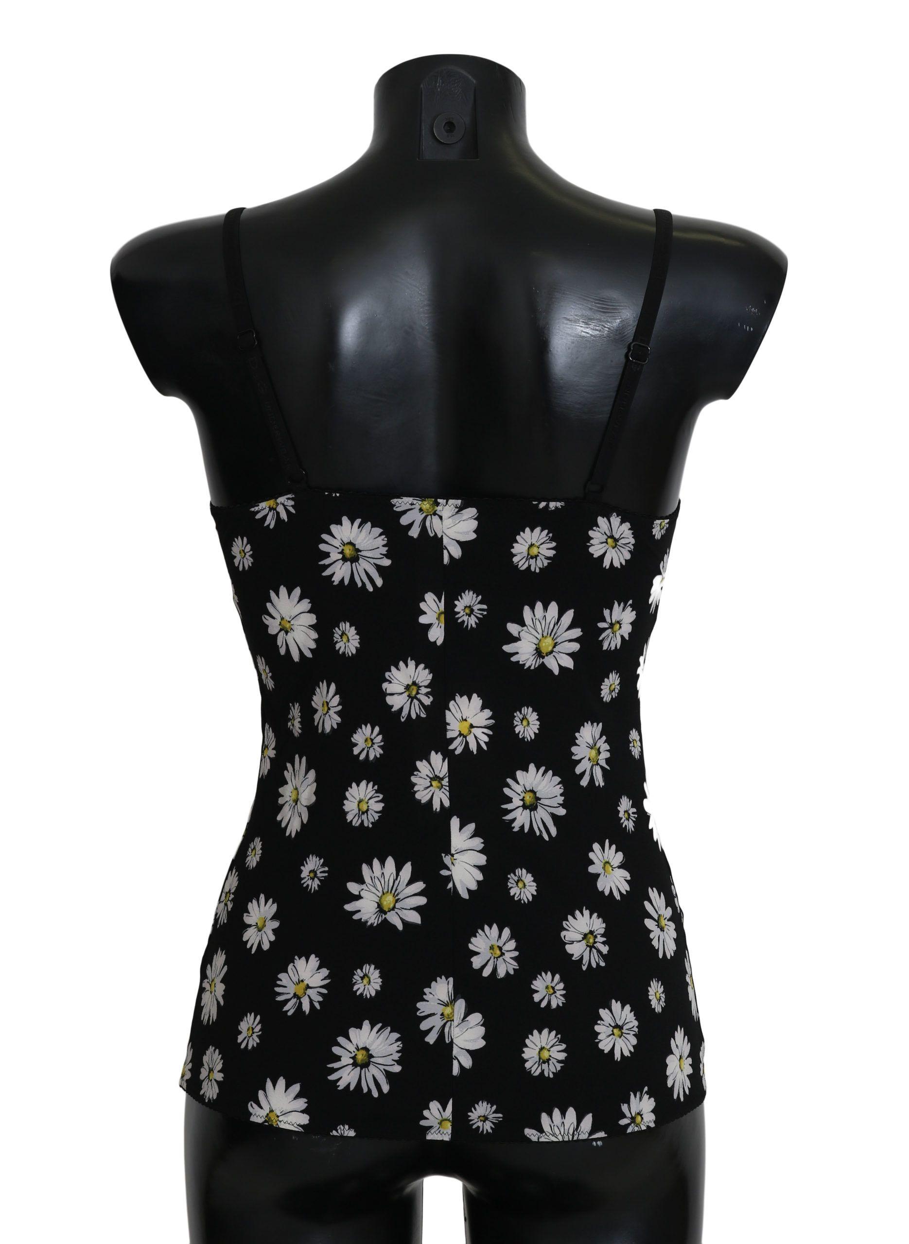 Dolce & Gabbana Black Daisy Print Dress Lingerie Chemisole