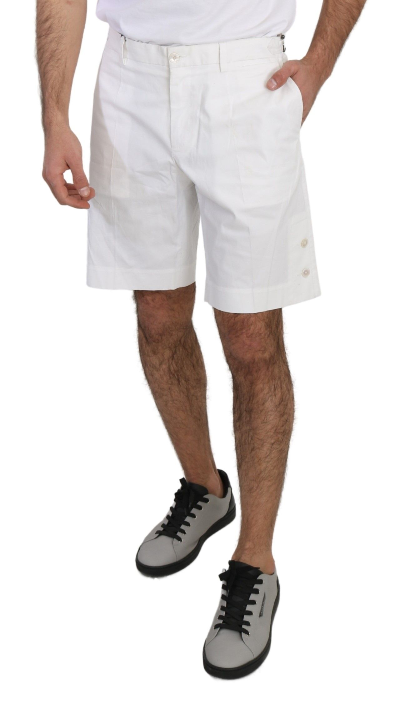 Dolce & Gabbana White Cotton Stretch Casual Knee High Shorts