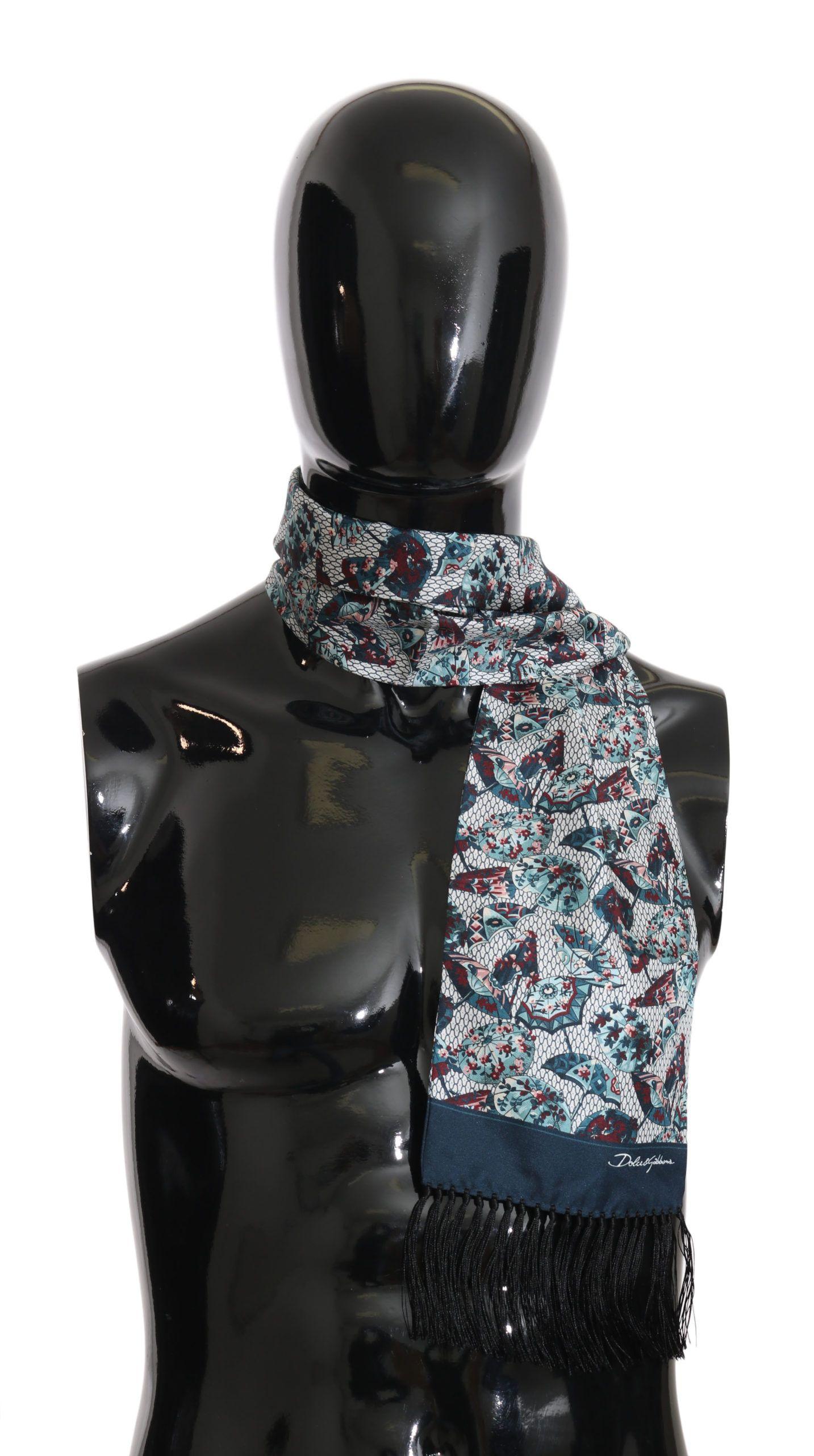 Dolce & Gabbana Multicolor Umbrella Silk Fringes Wrap 15cmx 140cm Scarf