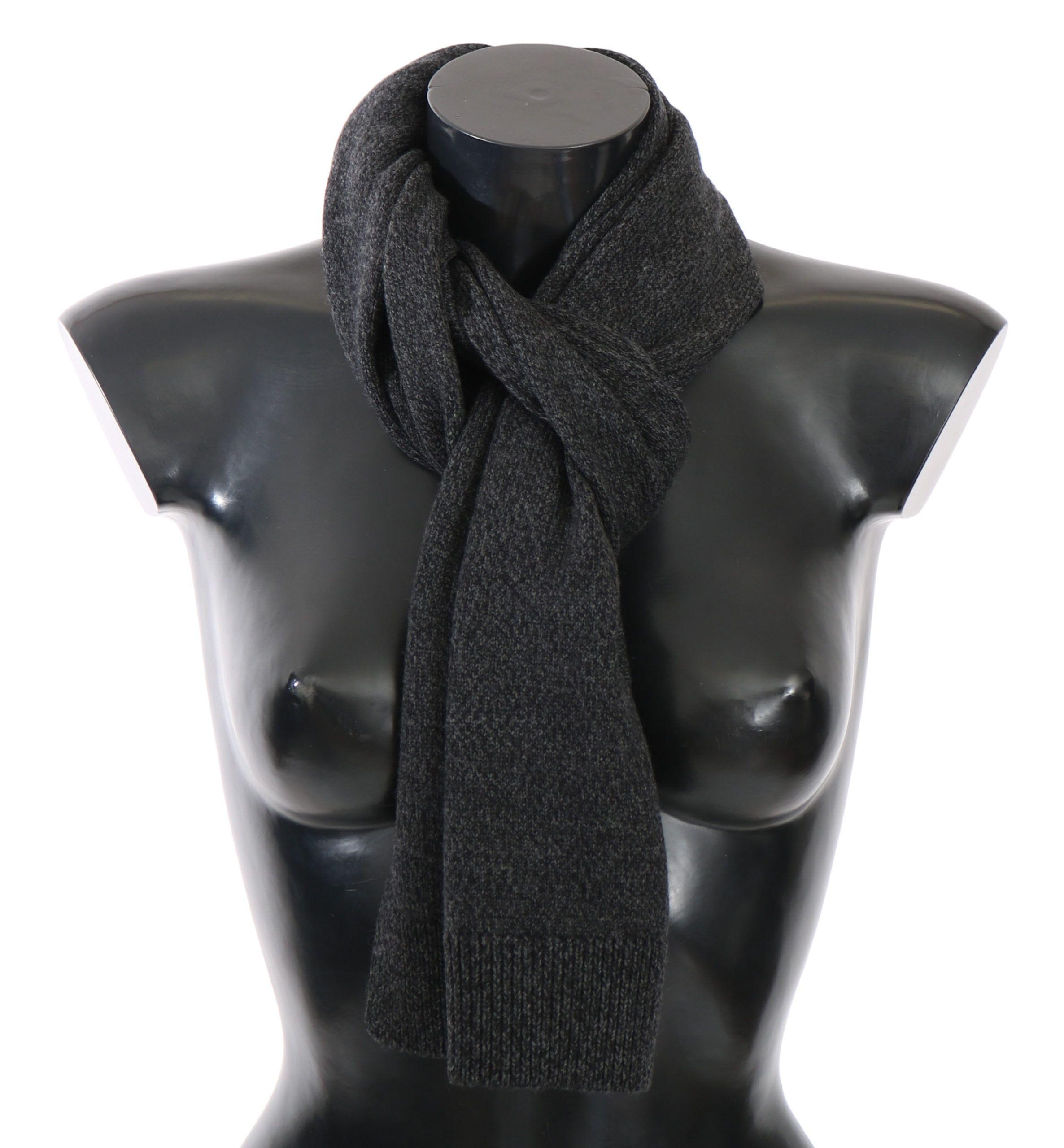 Dolce & Gabbana Graue Wolle Herren Schal Wrap Schal