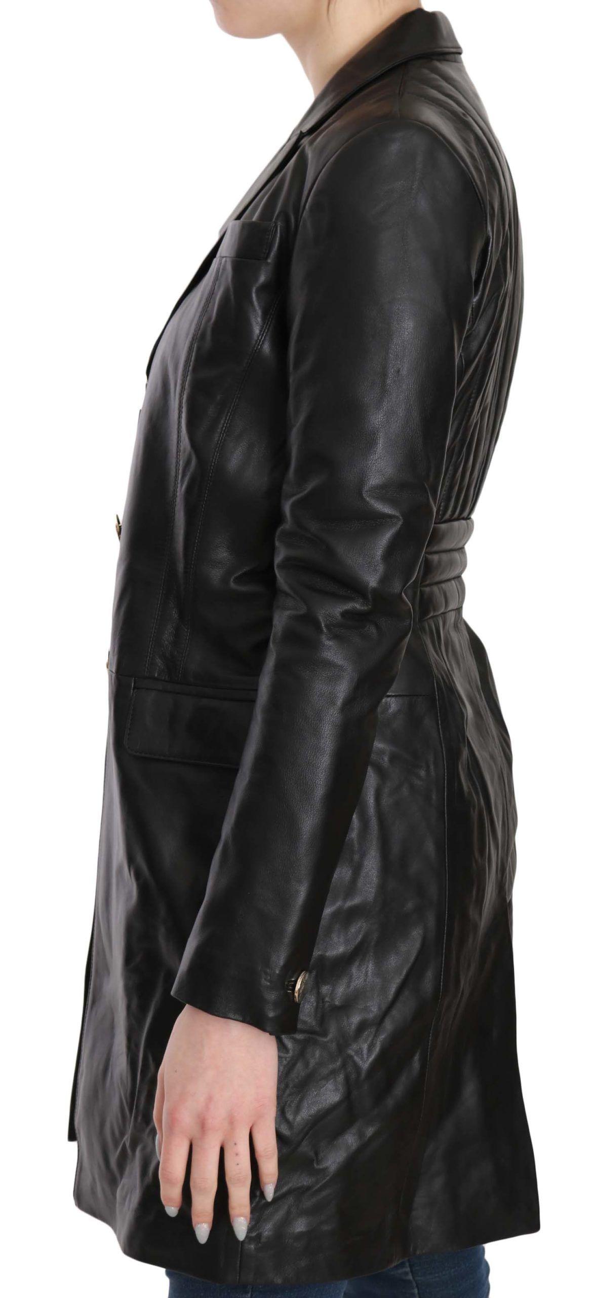 Versace Collection Black Button Embellished Long Coat Jacket