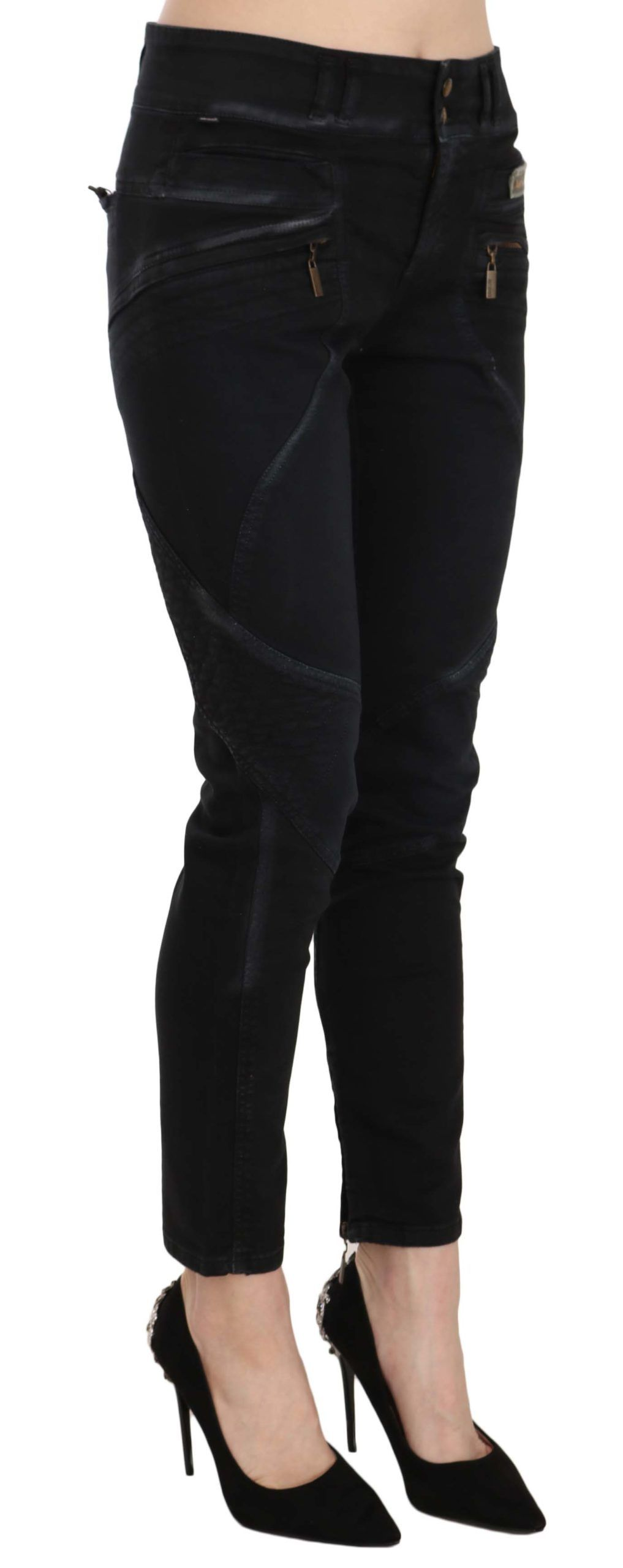 Just Cavalli Black Mid Waist Skinny Denim Trousers Pants