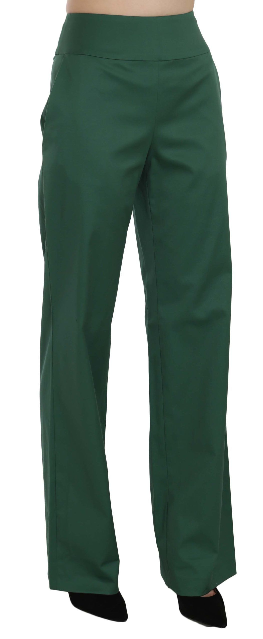 Just Cavalli Green High Waist Straight Formal Trousers Pants