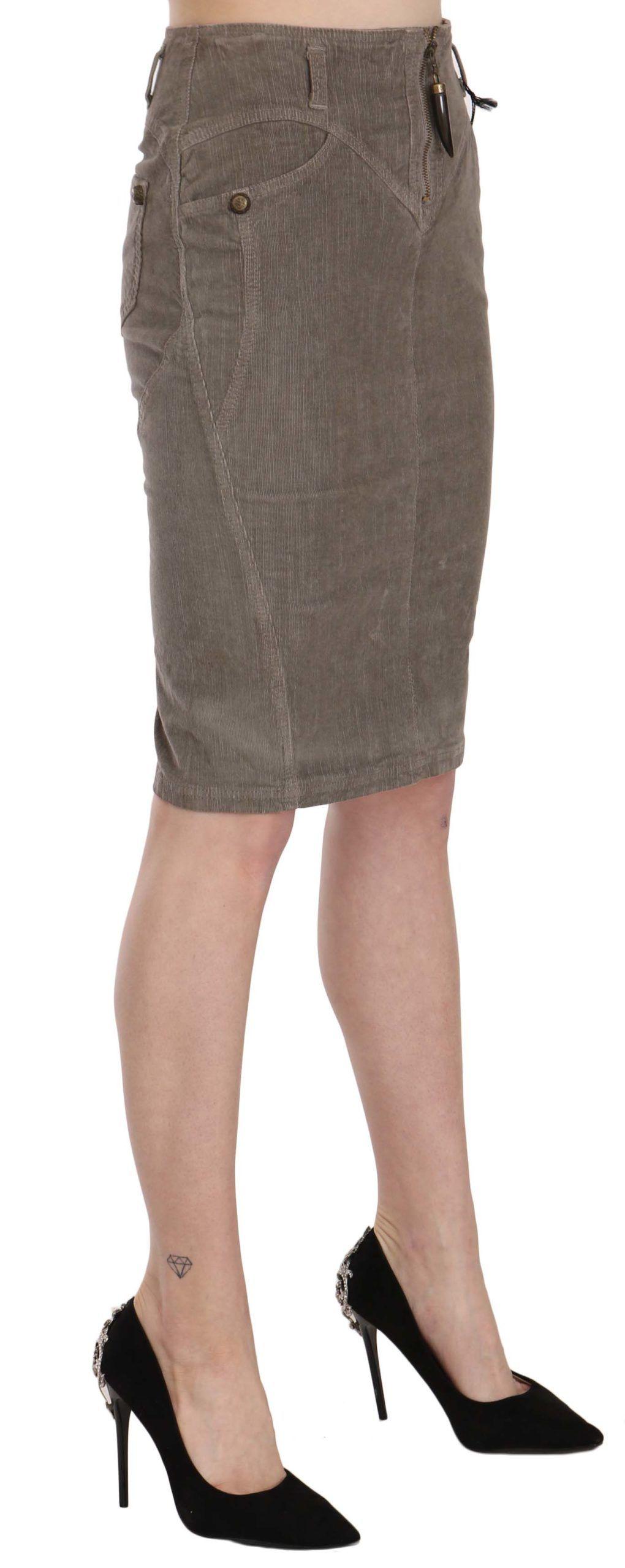 Just Cavalli Gray Corduroy Pencil Straight A-Line Skirt
