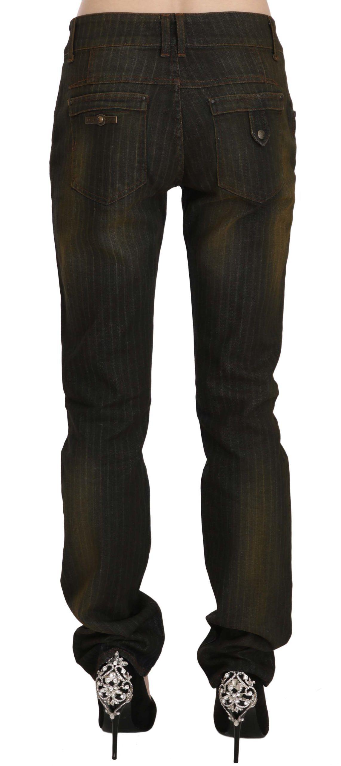 Just Cavalli Black Washed Low Waist Slim Fit Denim Pants Jeans