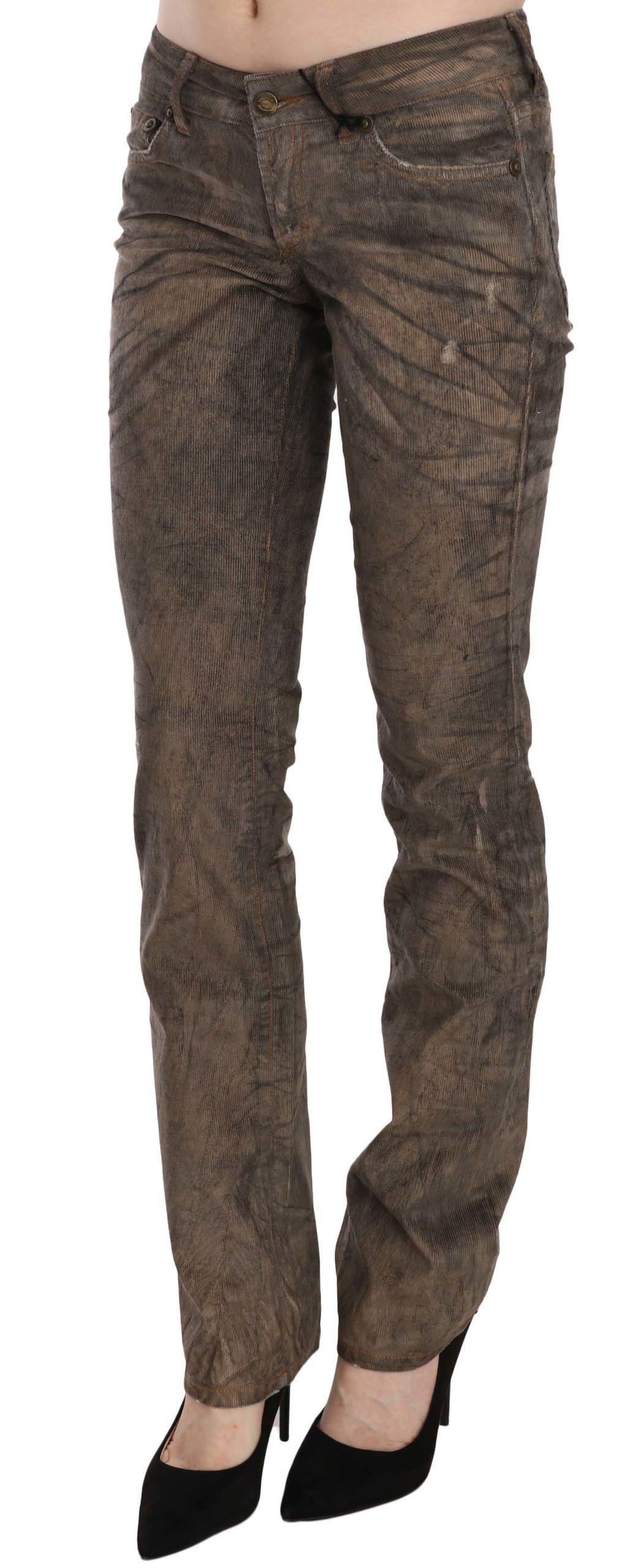 Just Cavalli Brown Corduroy Low Waist Slim Fit Denim Pants Jeans