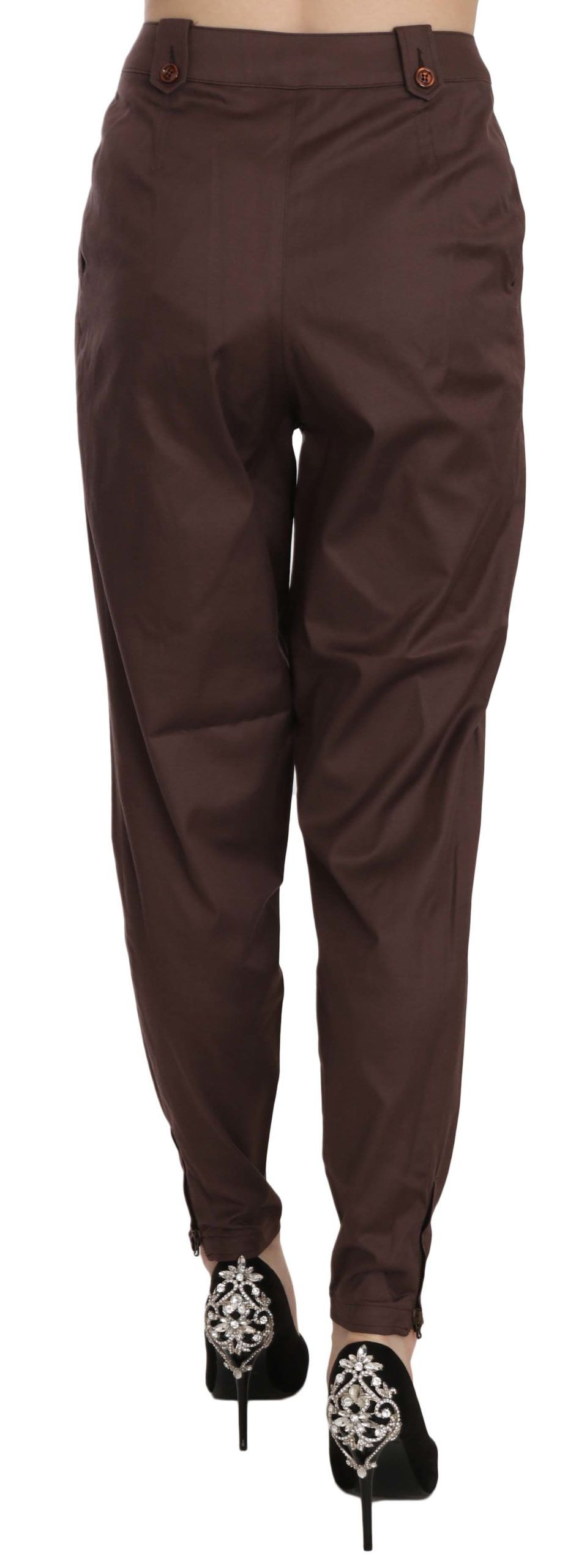 Just Cavalli Brown High Waist Tapered Formal Trousers Pants