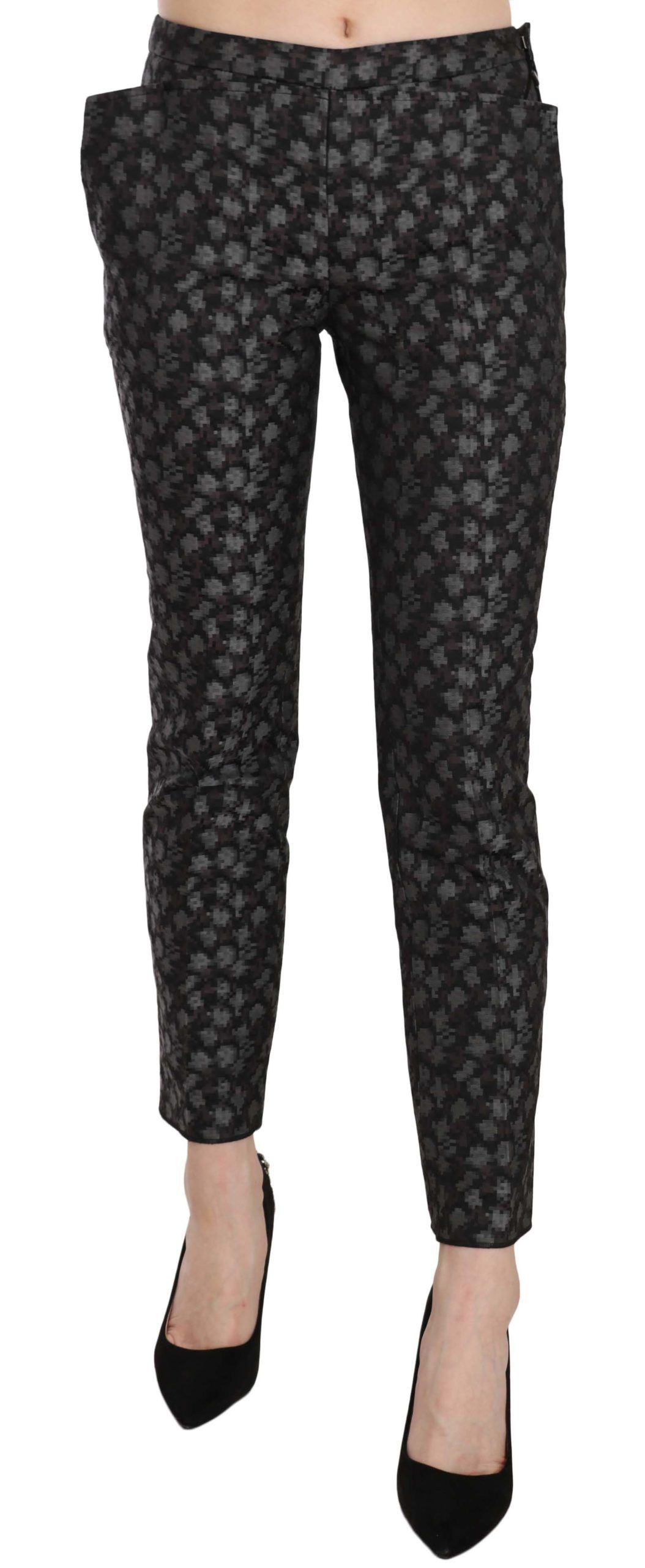 Just Cavalli Black Patterned Low Waist Skinny Trousers Pants