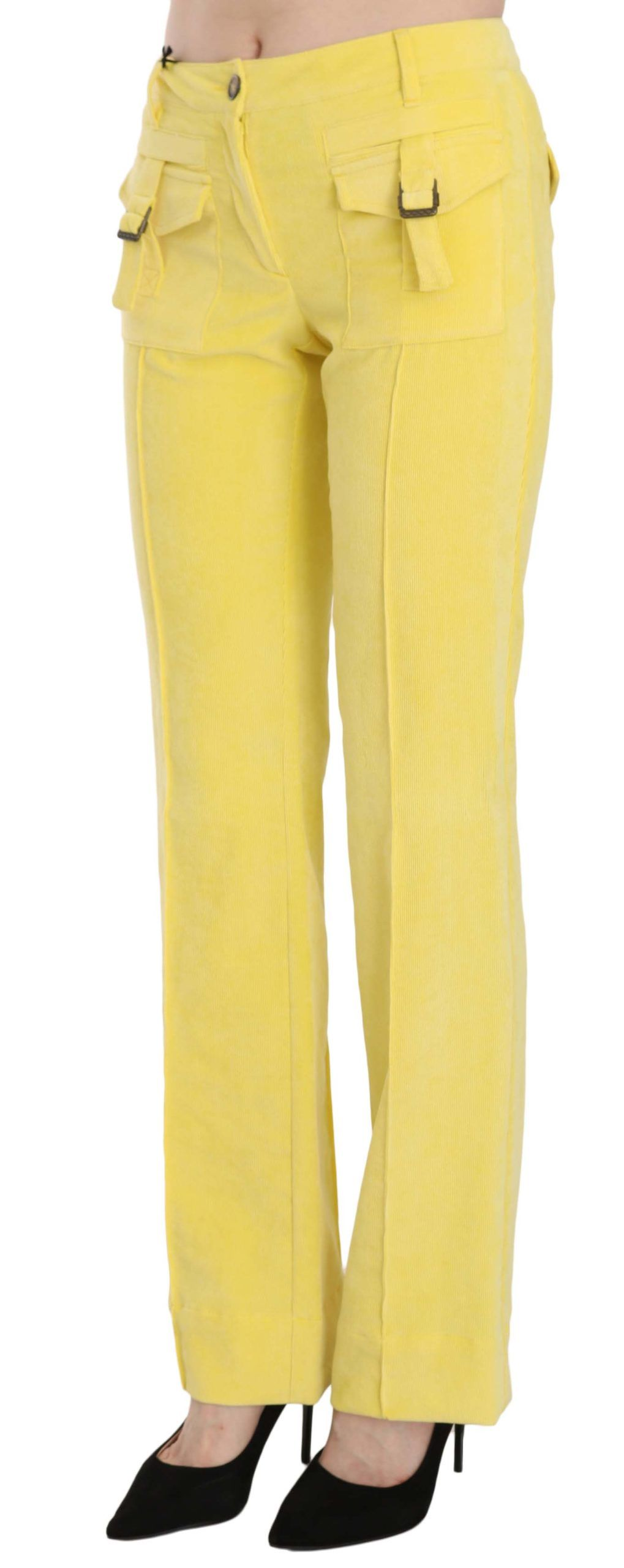 Just Cavalli Yellow Corduroy Mid Waist Straight Trousers Pants