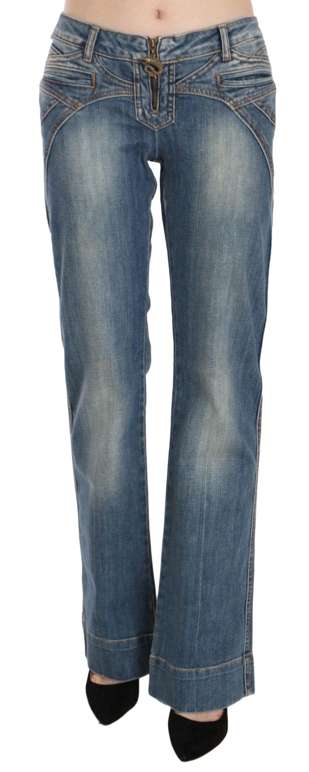 Just Cavalli Blue Washed Low Waist Wide Leg Denim Pants Jeans