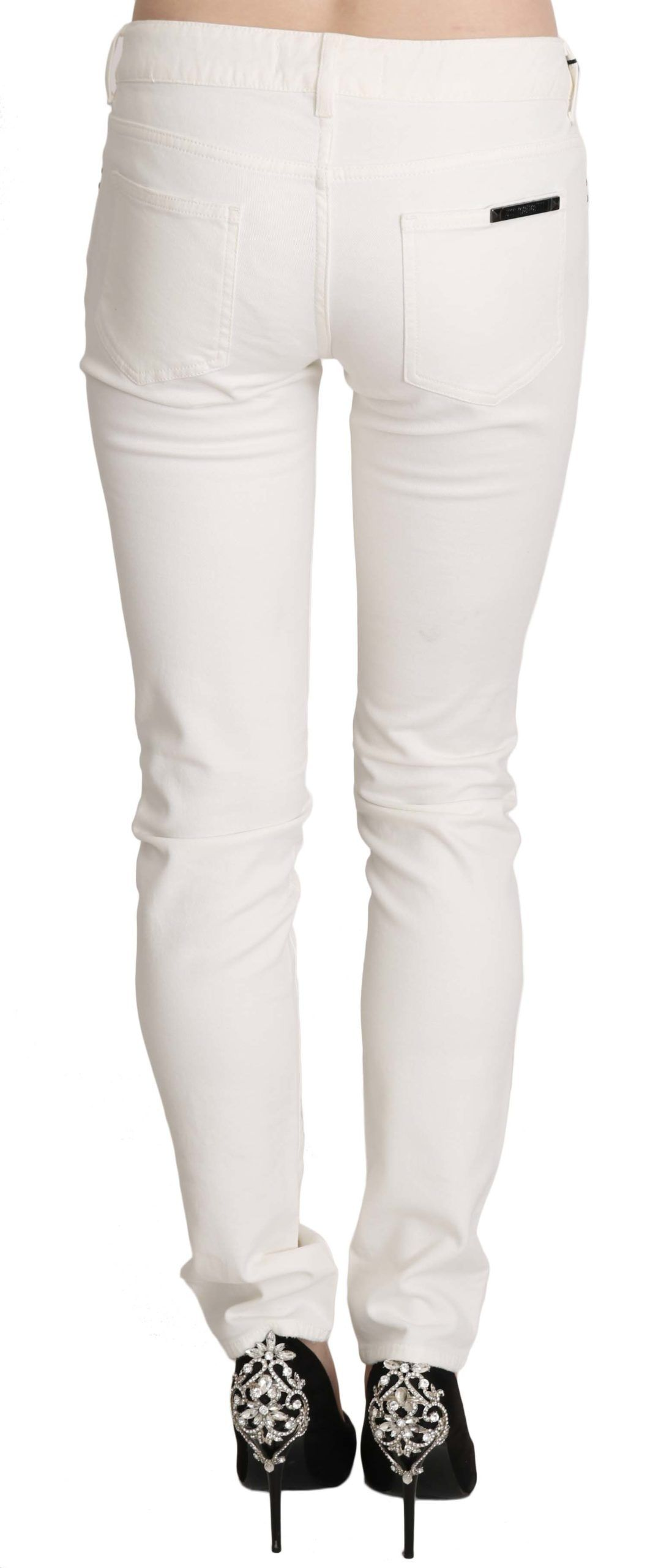 Cavalli White Cotton Low Waist Skinny Denim Pants Jeans