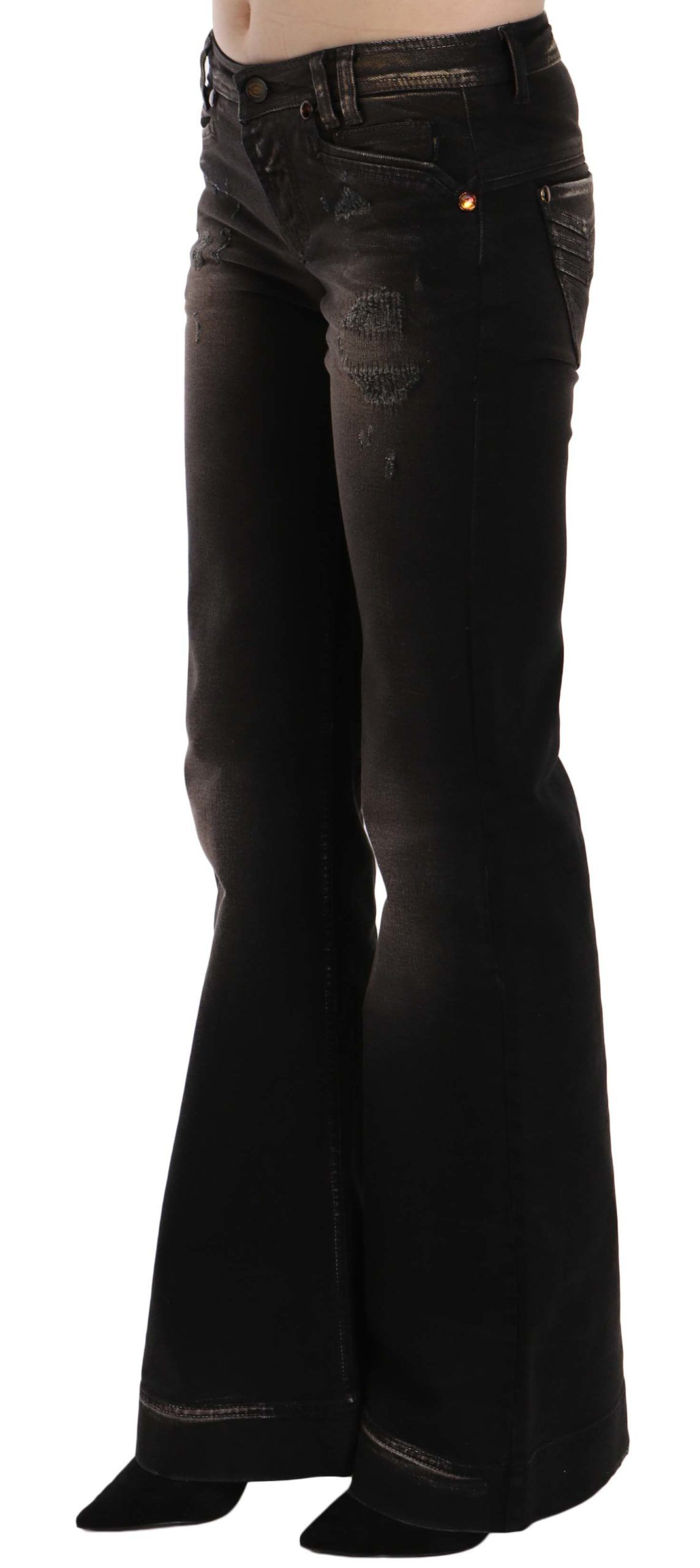 Just Cavalli Brown Washed Ripped Low Waist Boot Cut Denim Jeans