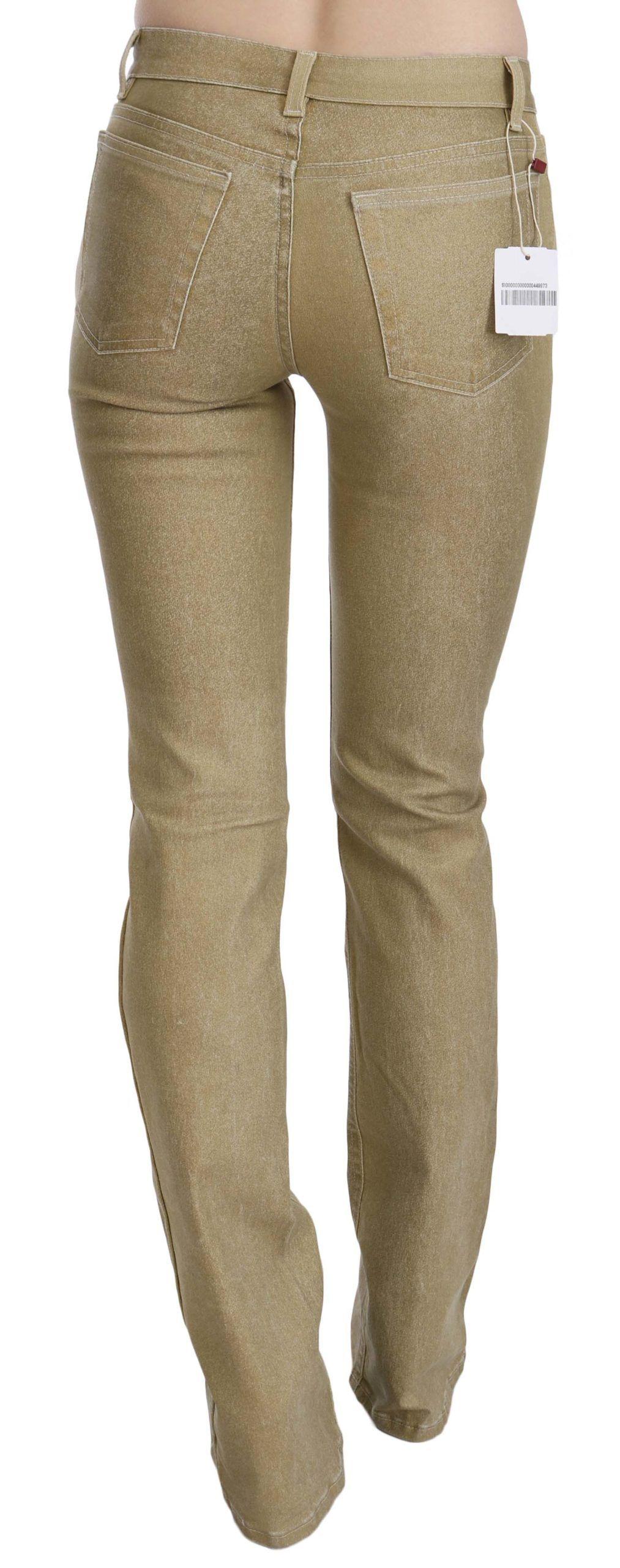 Cavalli Brown Mid Waist Skinny Denim Pants Jeans