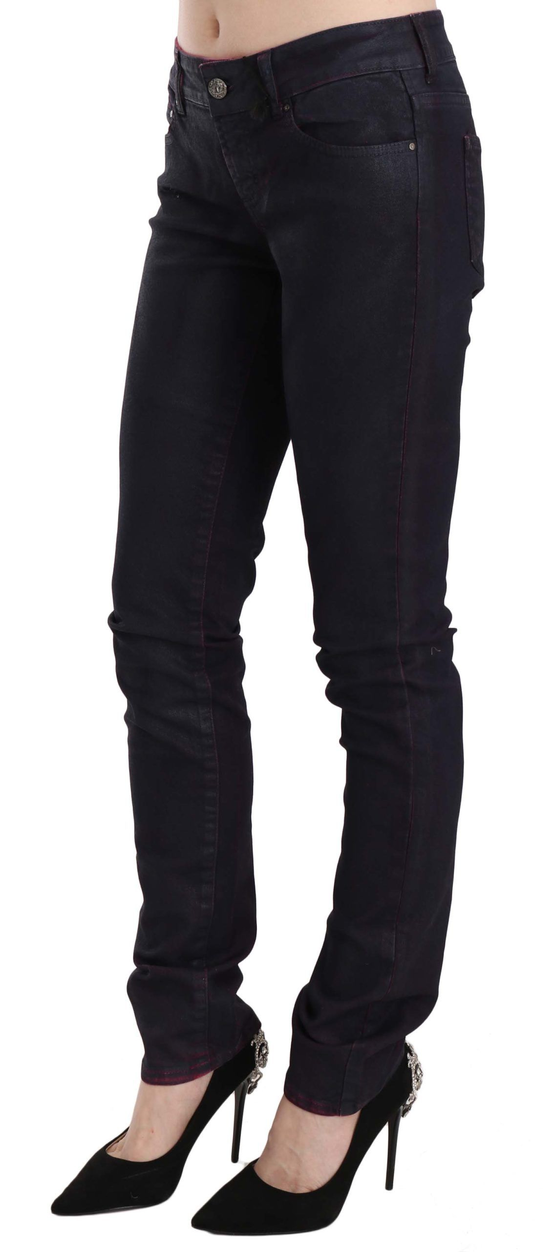 Just Cavalli Black Cotton Low Waist Skinny Denim Pants