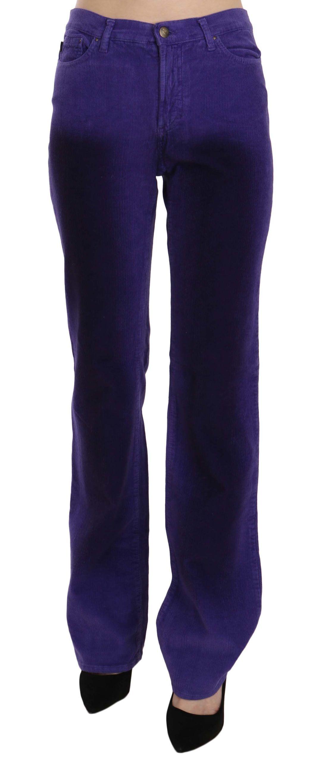 Just Cavalli Purple Corduroy Mid Waist Straight Denim Pants