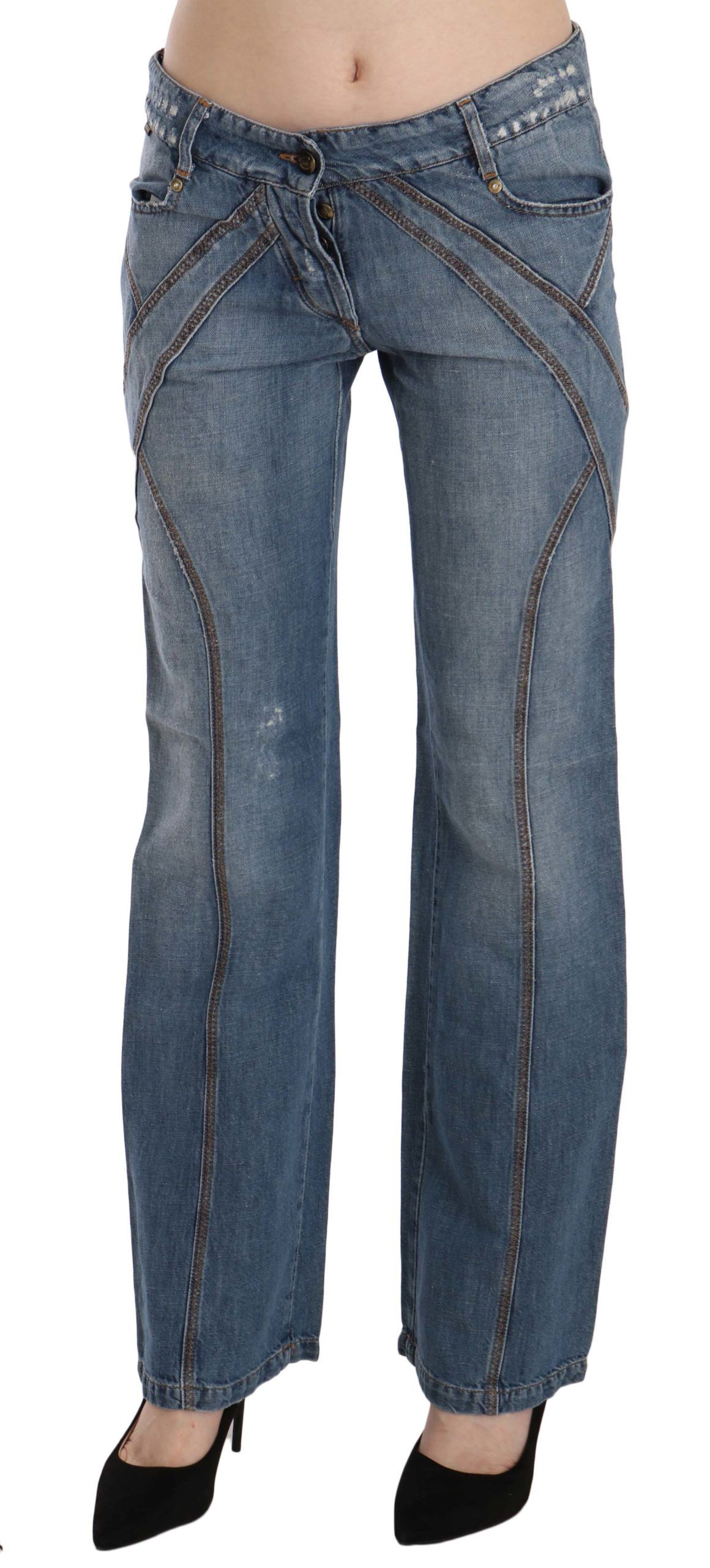 Just Cavalli Blue Washed Low Waist Cotton Flared Denim Pants