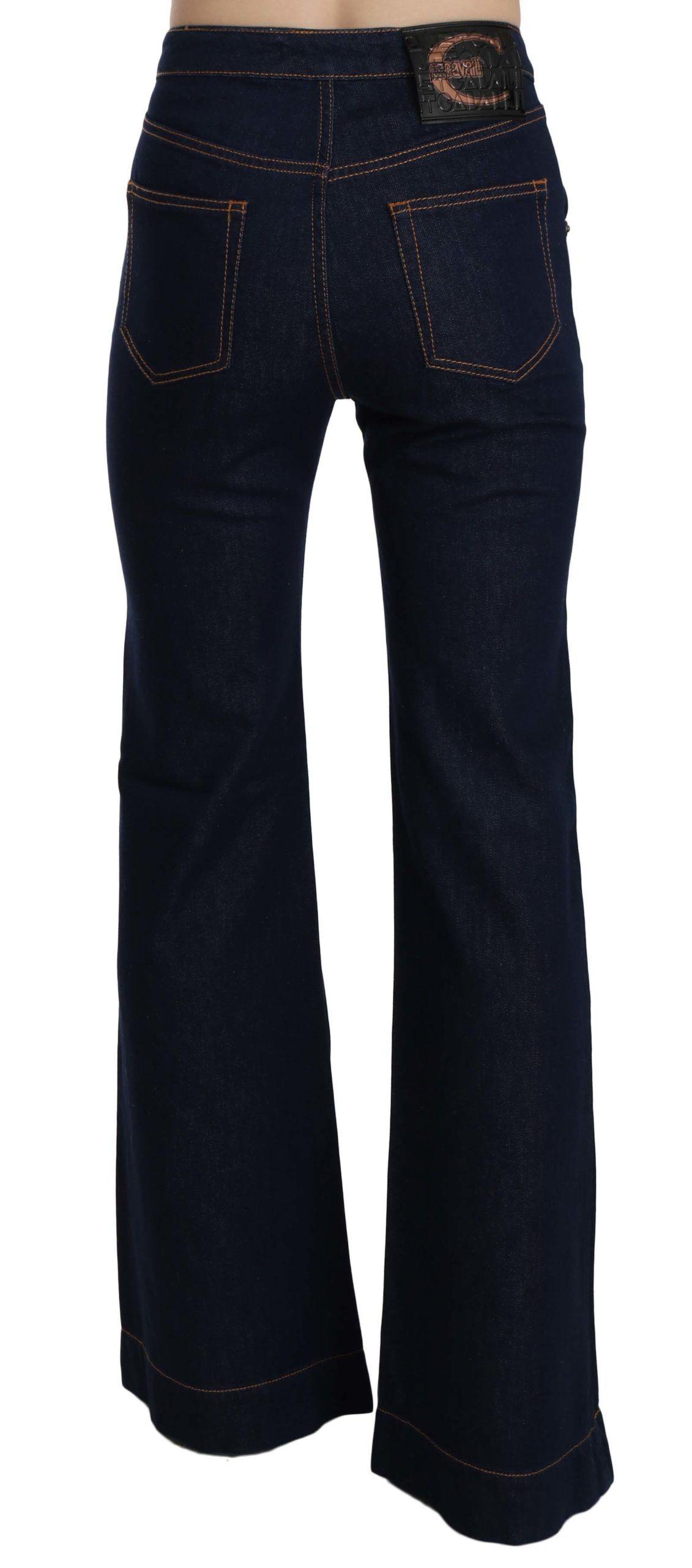 Just Cavalli Blue High Waist Cotton Boot Cut Denim Pants