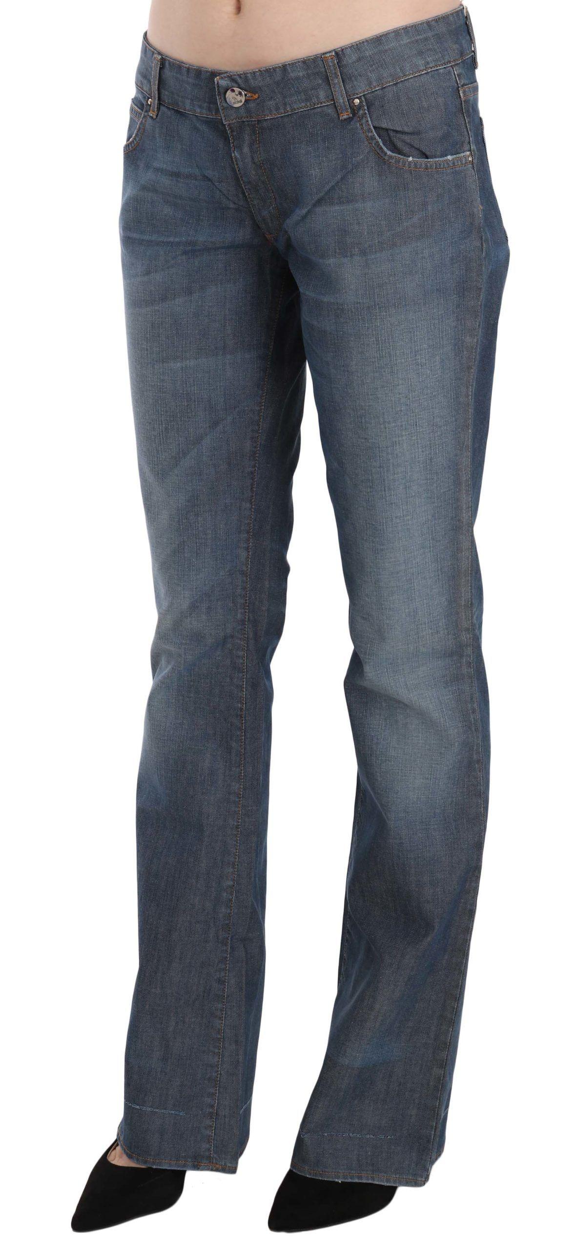 Just Cavalli Blue Washed Low Waist Cotton Straight Denim Pants
