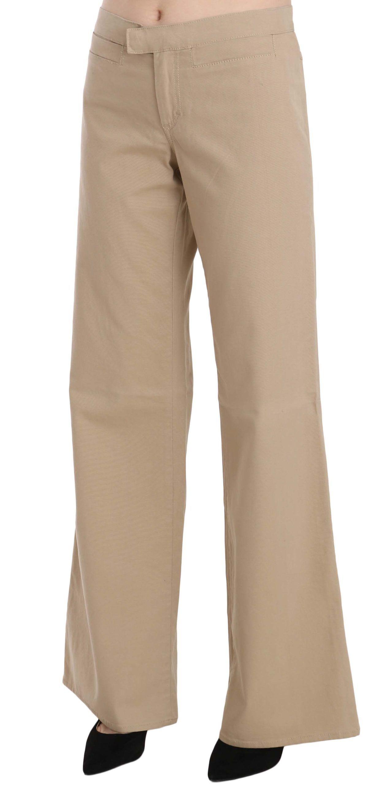 Just Cavalli Beige Cotton Mid Waist Flared Trousers Pants