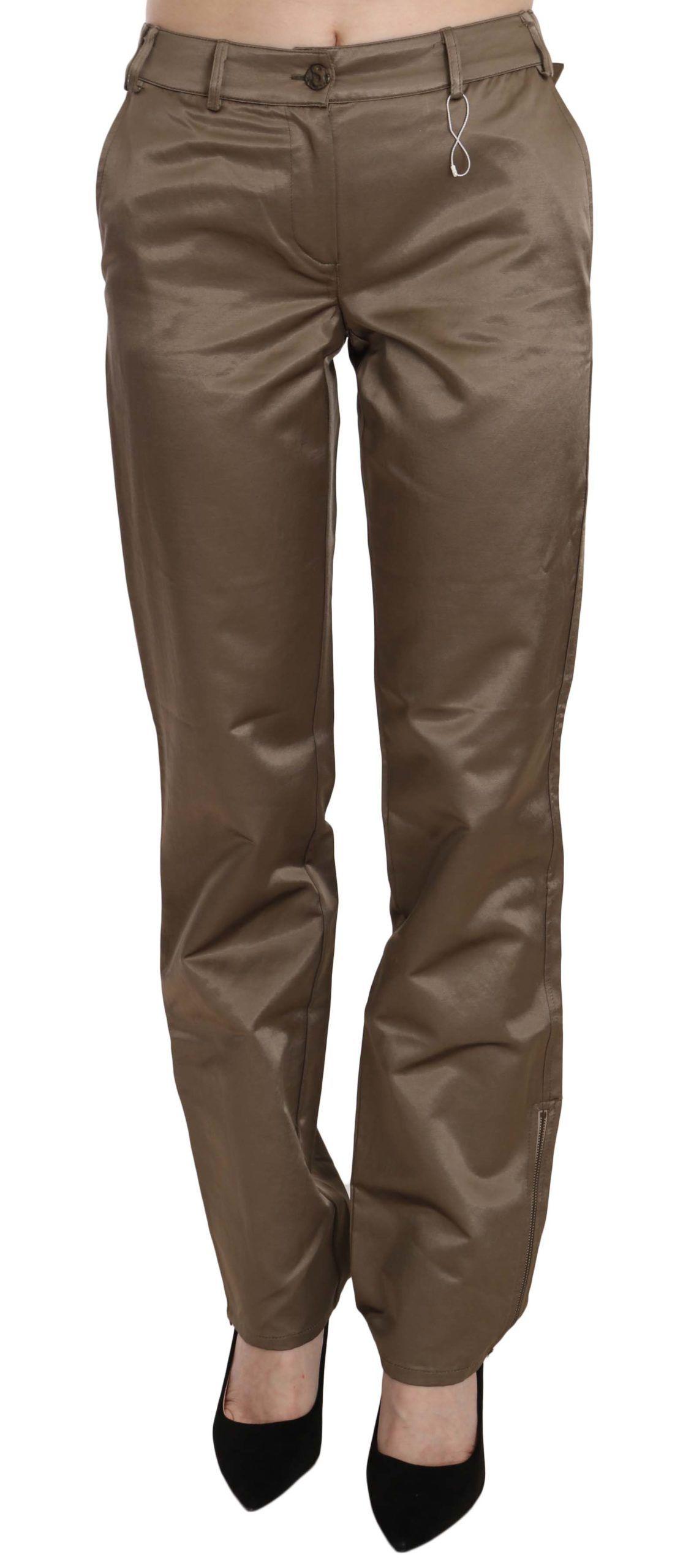 Roberto Cavalli Brown Cotton Mid Waist Straight Pants