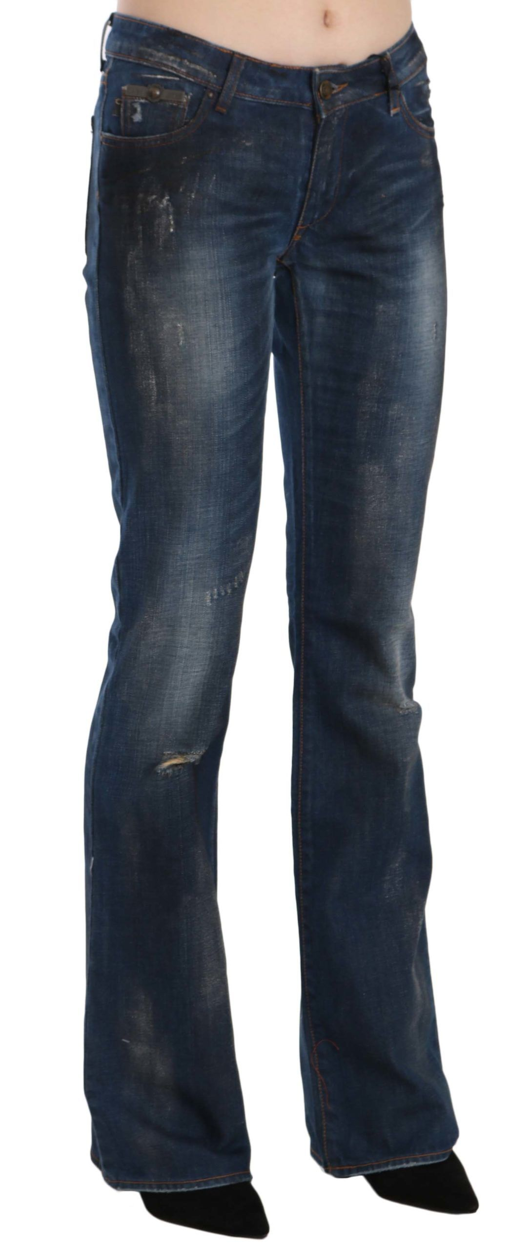 Just Cavalli Blue Washed Ripped Low Waist Straight Denim Pants