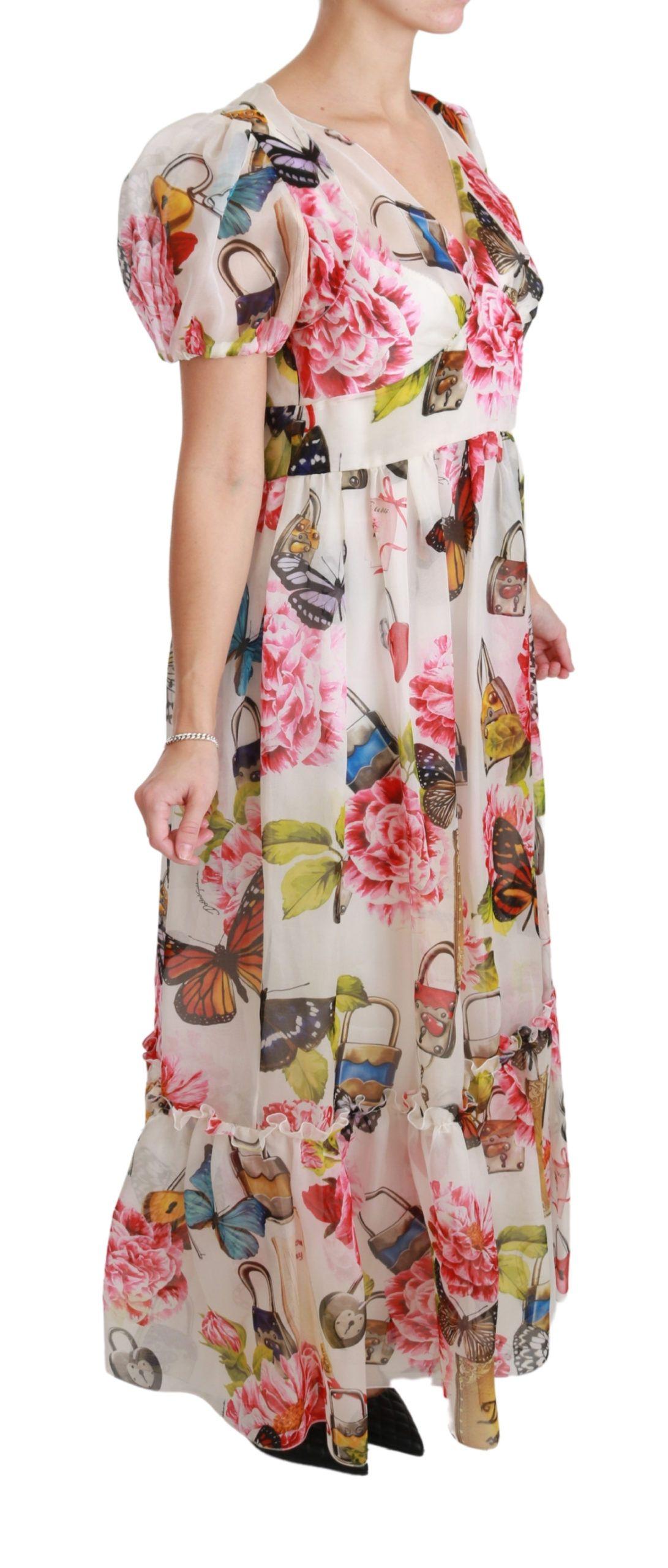Dolce & Gabbana White Butterfly Padlock Floral Maxi Dress