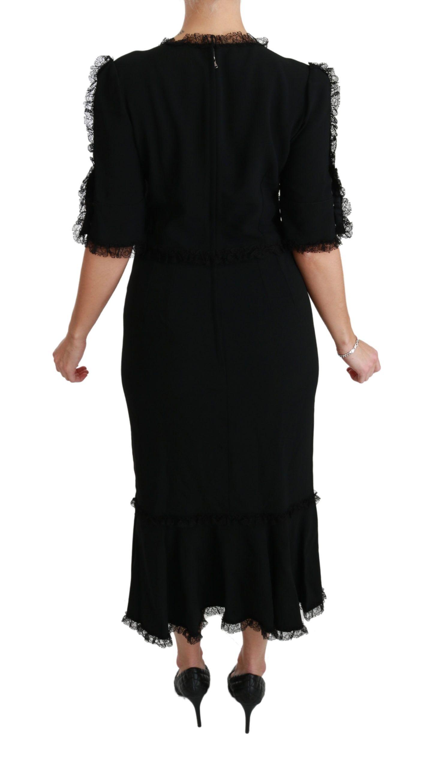 Dolce & Gabbana Black Lace Shift Leopard Head Button Dress