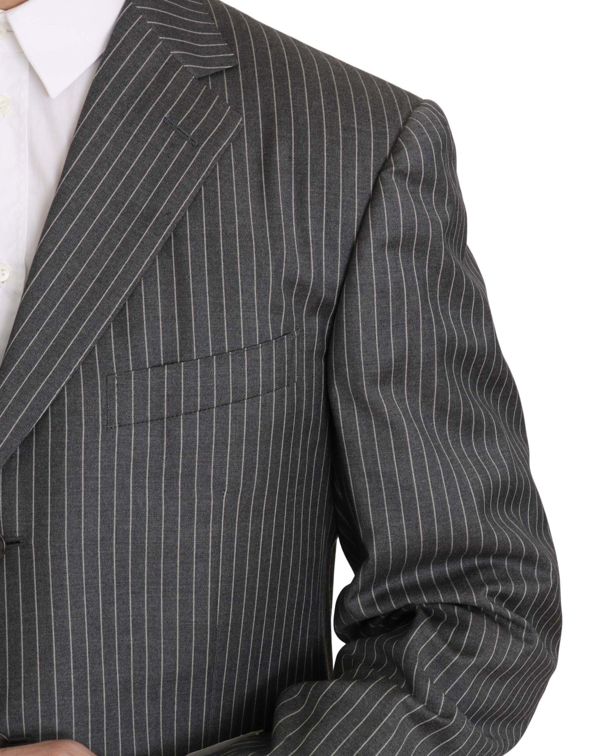 Ermenegildo Zegna Wool Gray Striped 2 Piece Suit