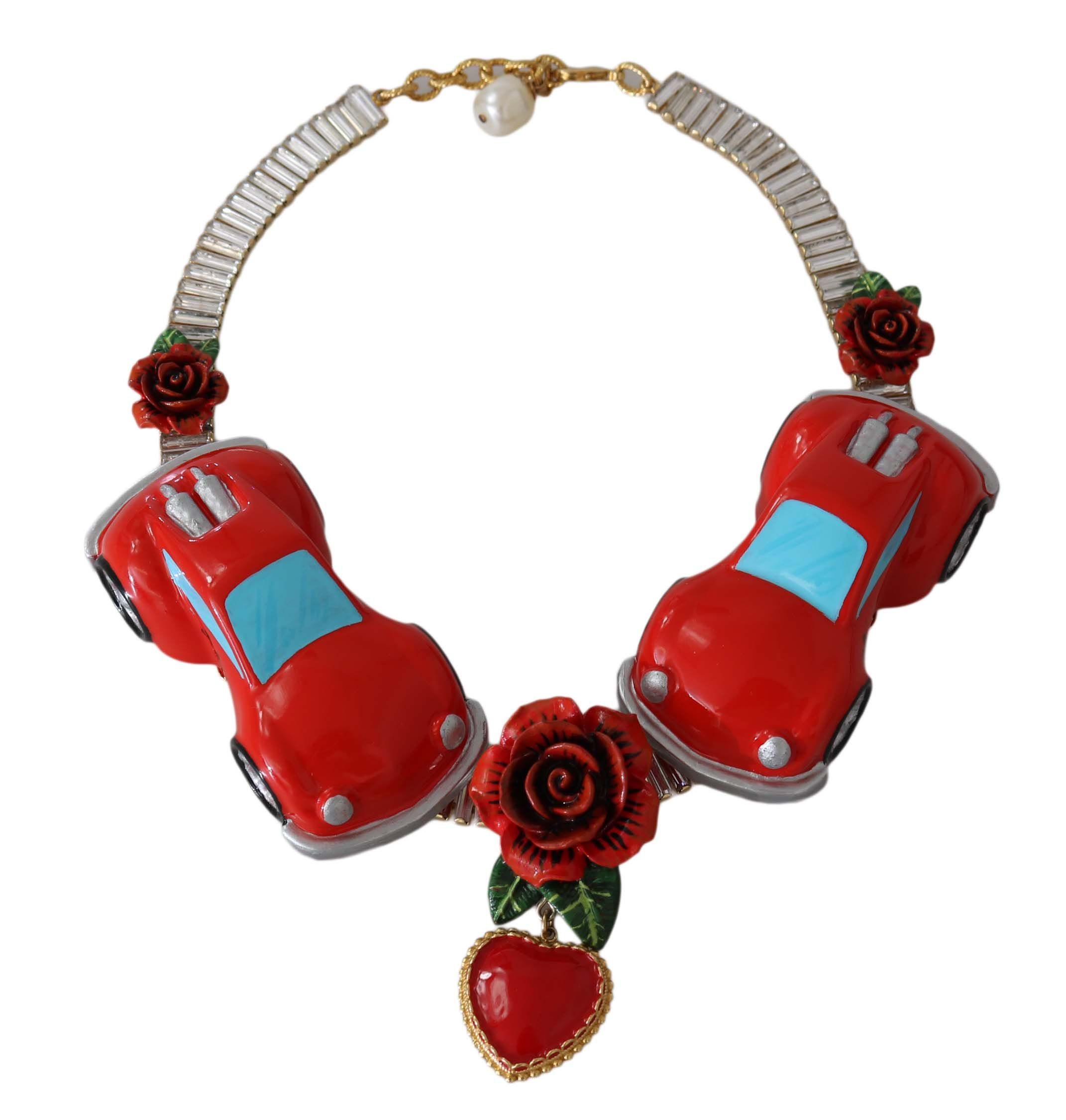Dolce & Gabbana Gold Red Roses Heart Car Crystal Charms Statement Necklace