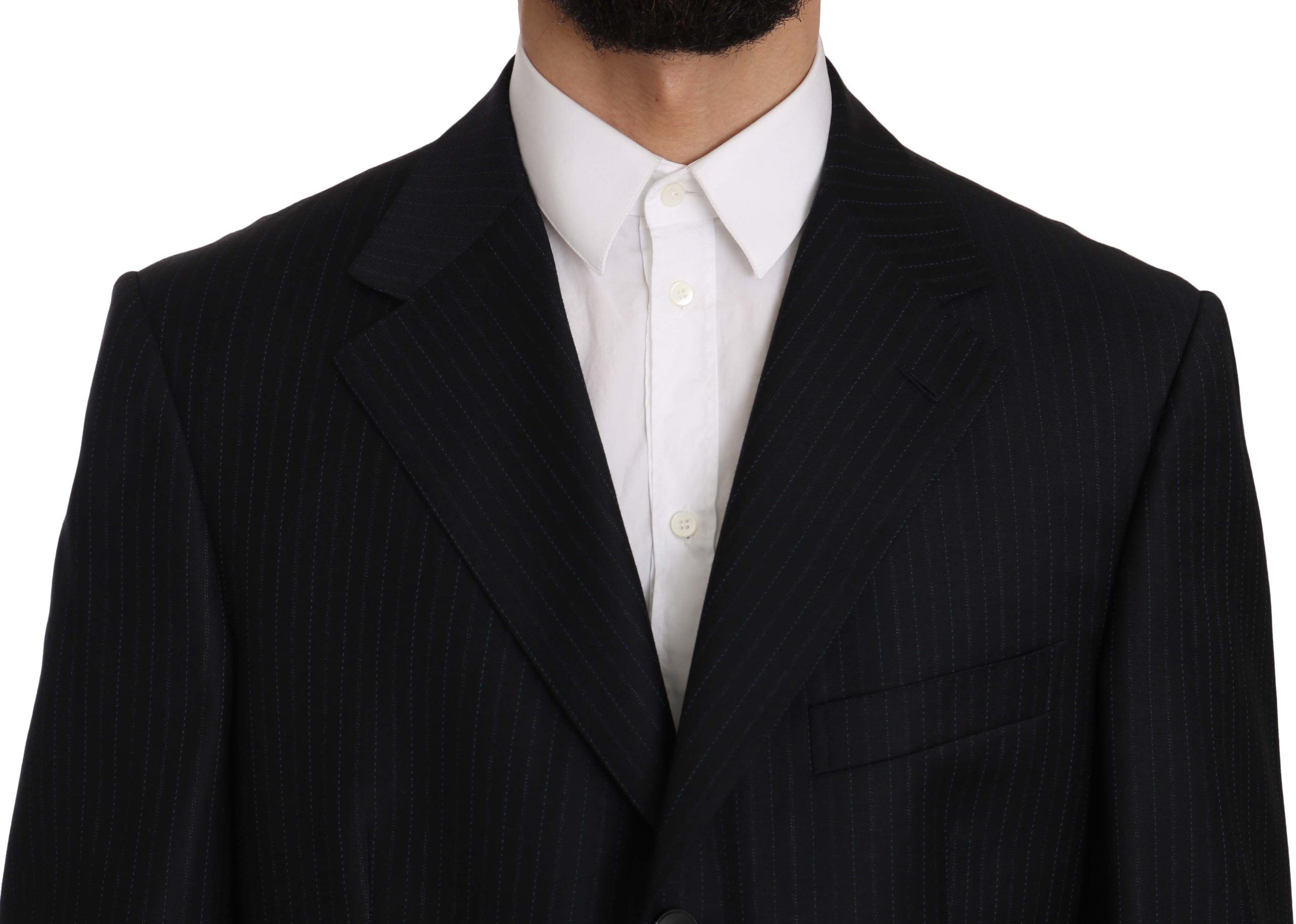 Z ZEGNA Blue Striped Two Piece 3 Button Wool Suit