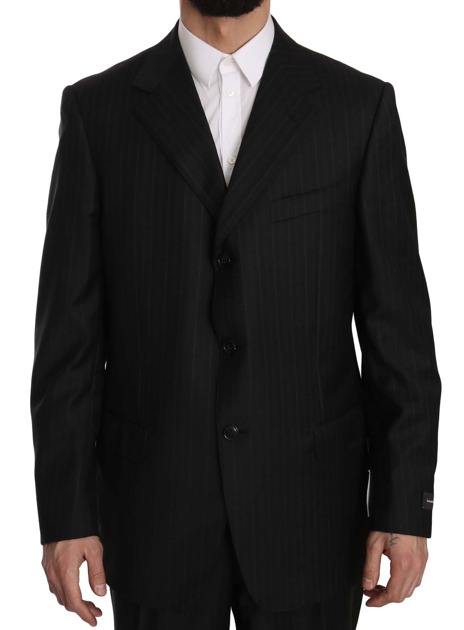 Ermenegildo Zegna Gray Striped  2 Piece 3 Button Wool Suit