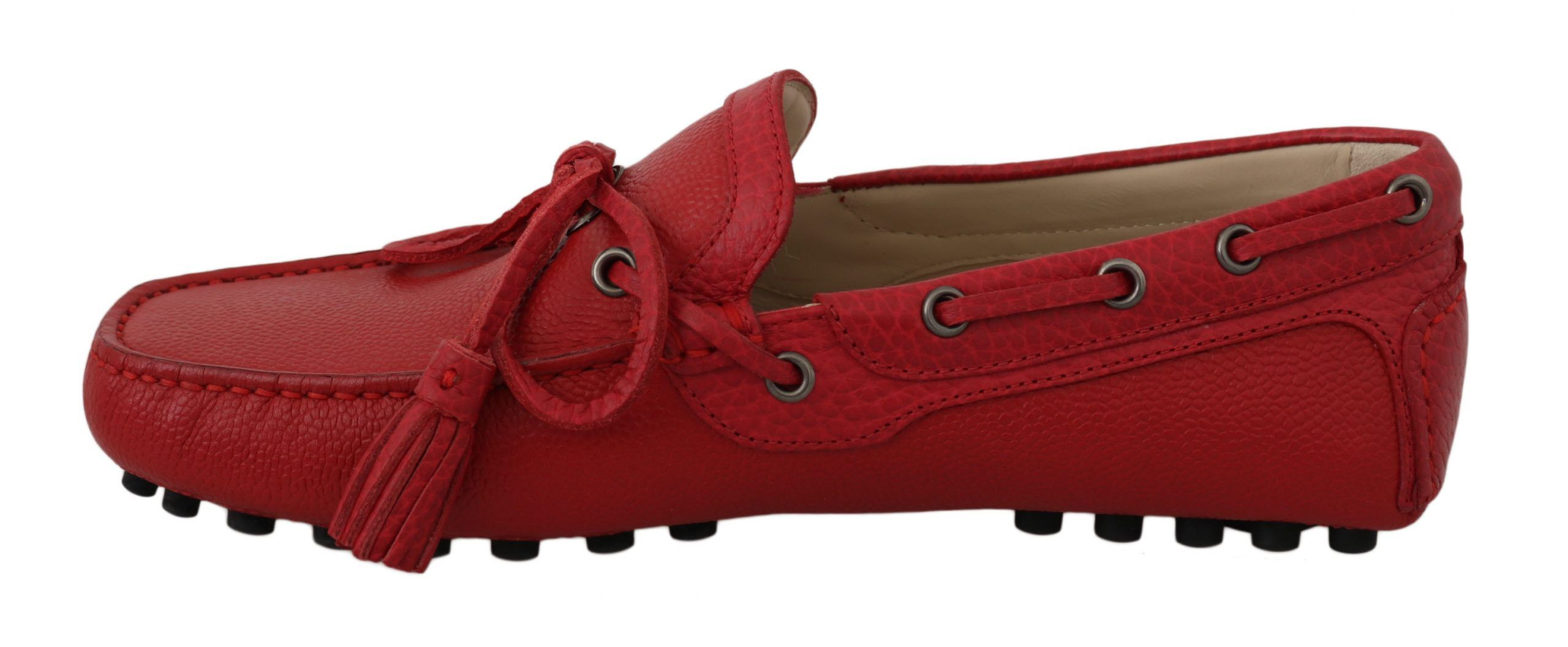 Dolce & Gabbana Red Leather Flat Loafers Moccasin Mens Shoes